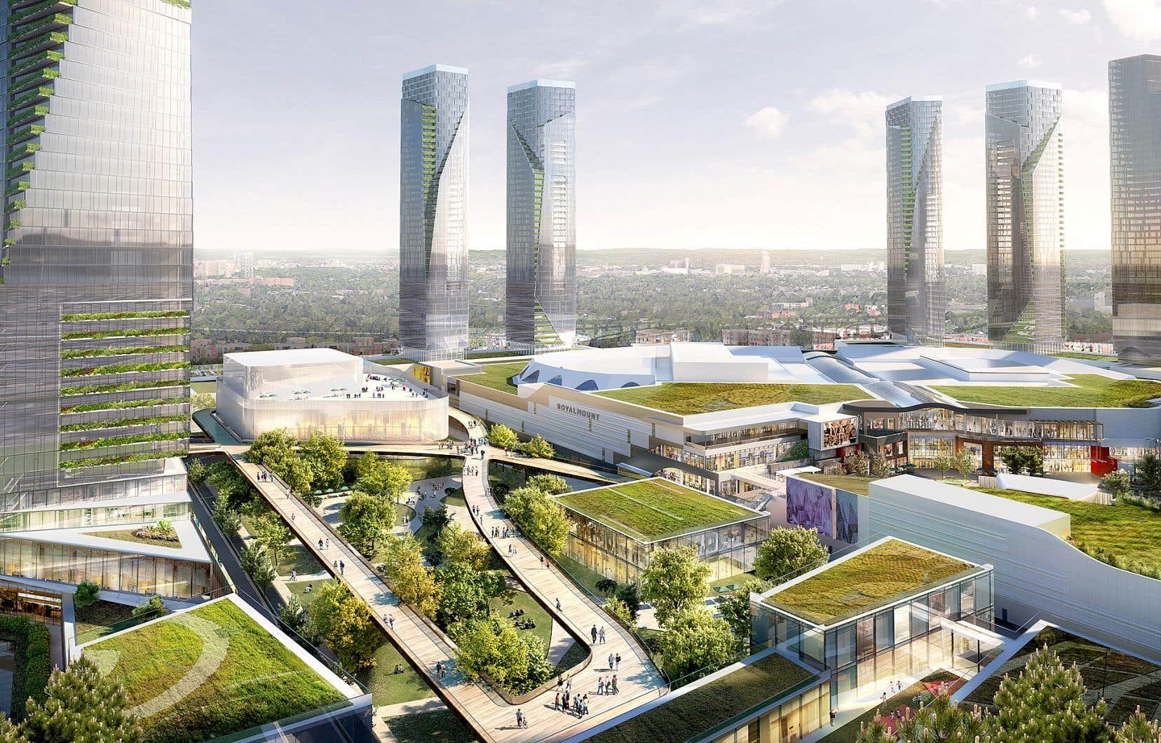 Les tours résidentielles d'une cinquantaine d'étages du projet Royalmount seront dotées de jardins verticaux sur une partie de leurs façades.
