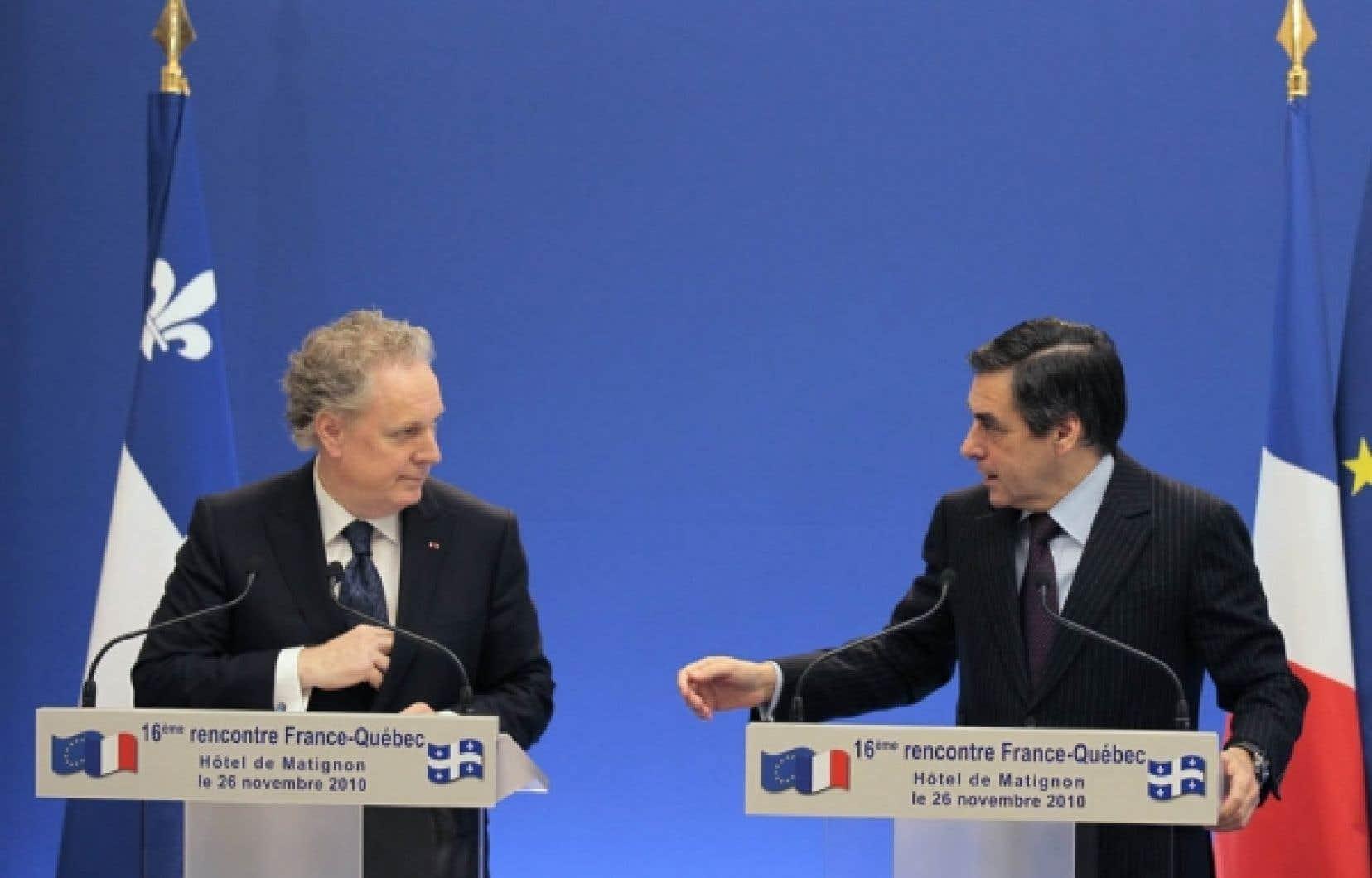 Les premiers ministres Jean Charest et François Fillon ont présidé hier à la signature de plusieurs ententes.