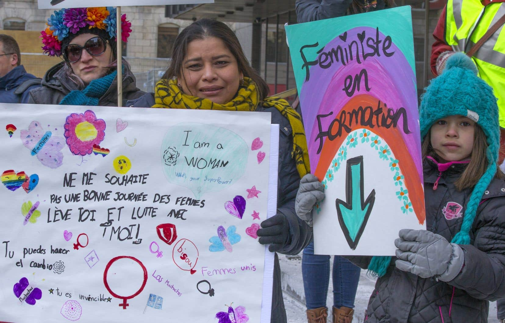 Manifestation à l'occasion de la Journée international des femmes en 2019 à Montréal
