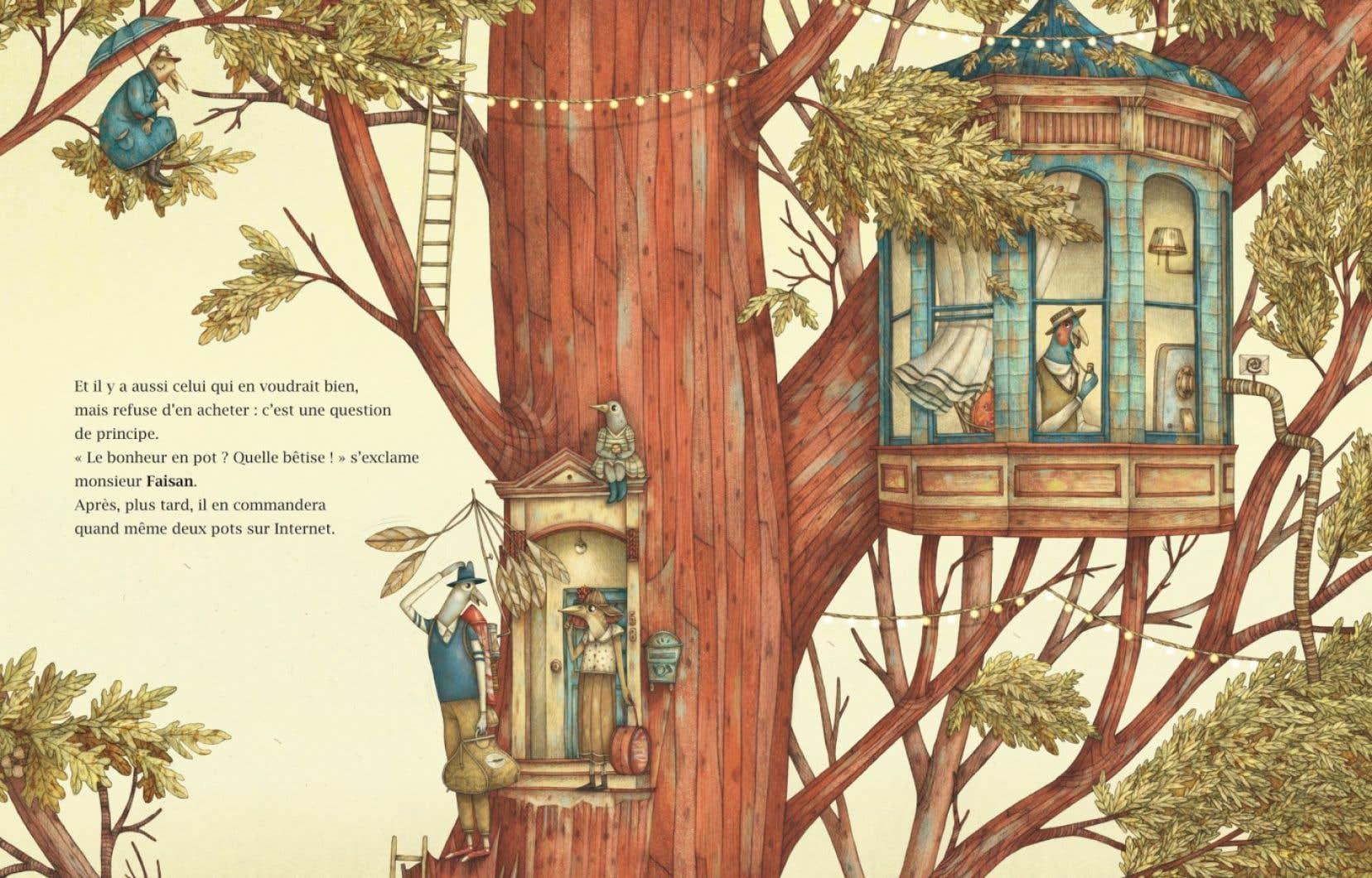 Une illustration tirée du livre «Le marchand de bonheur»