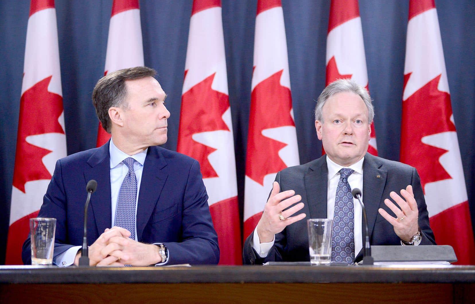 Le ministre des Finances, Bill Morneau, et le gouverneur de la Banque du Canada, Stephen Poloz ont présenté plusieurs mesures pour répondre à l'incertitude économique accompagnant la pandémie de coronavirus.