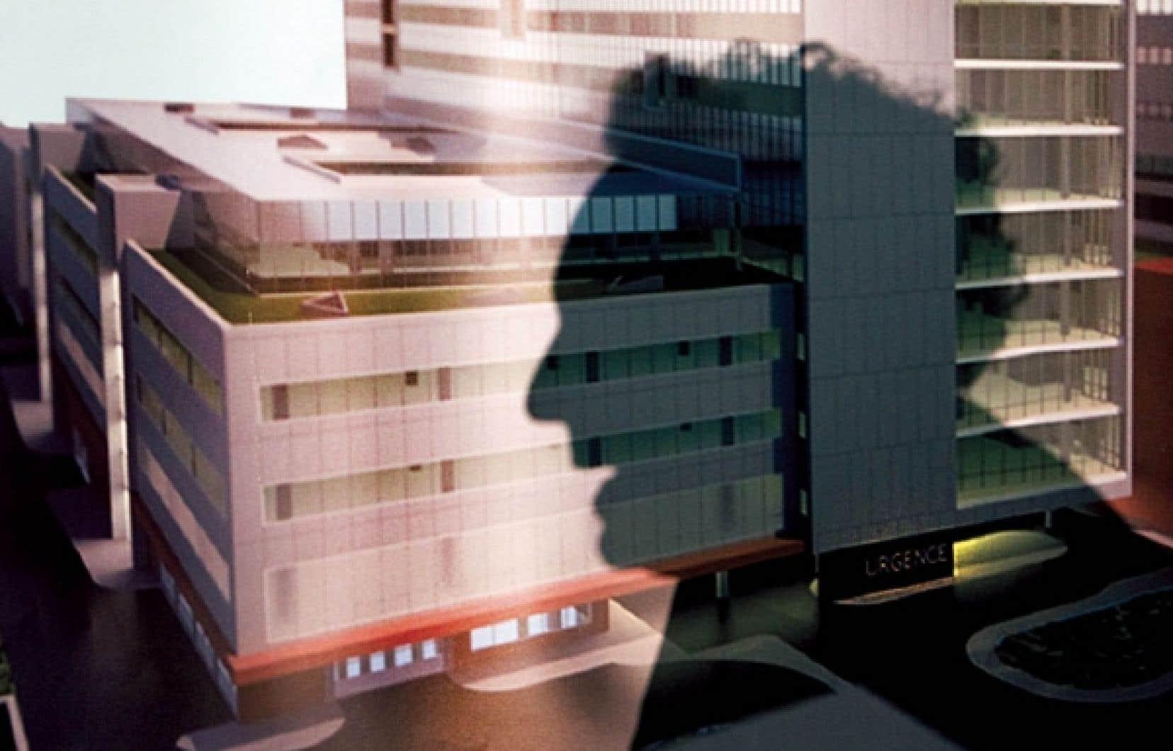 Le CHUM est-il vraiment une &laquo;trag&eacute;die qu&eacute;b&eacute;coise&raquo;? Apr&egrave;s tout, il y aura bel et bien un nouveau centre hospitalier, et plusieurs acteurs au centre du processus soutiennent le projet. Sur la photo: l&rsquo;ombre de Jean Charest sur une maquette du futur CHUM.<br />