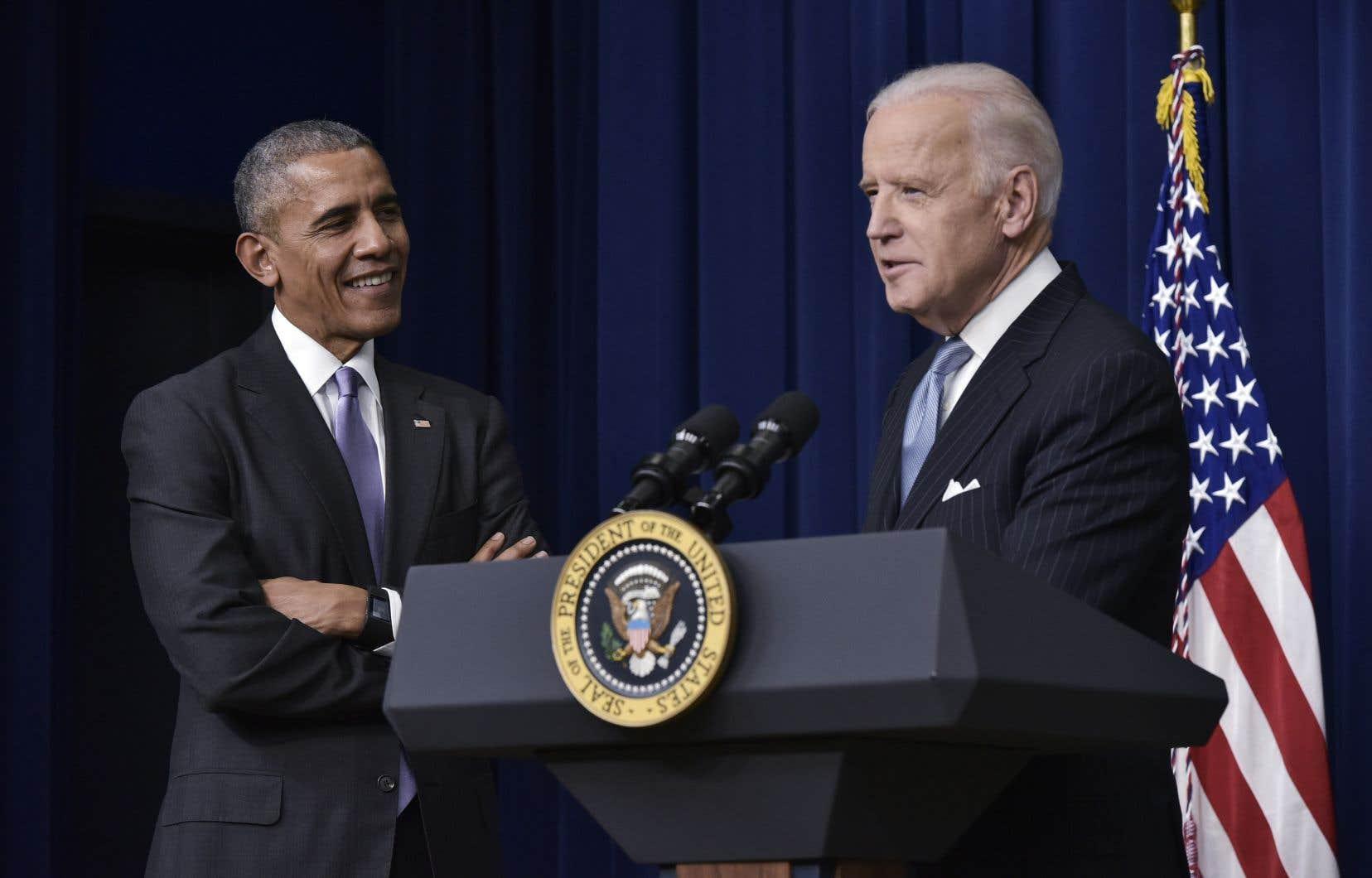 L'ancien président démocrate Barack Obama et son ancien vice-président Joe Biden