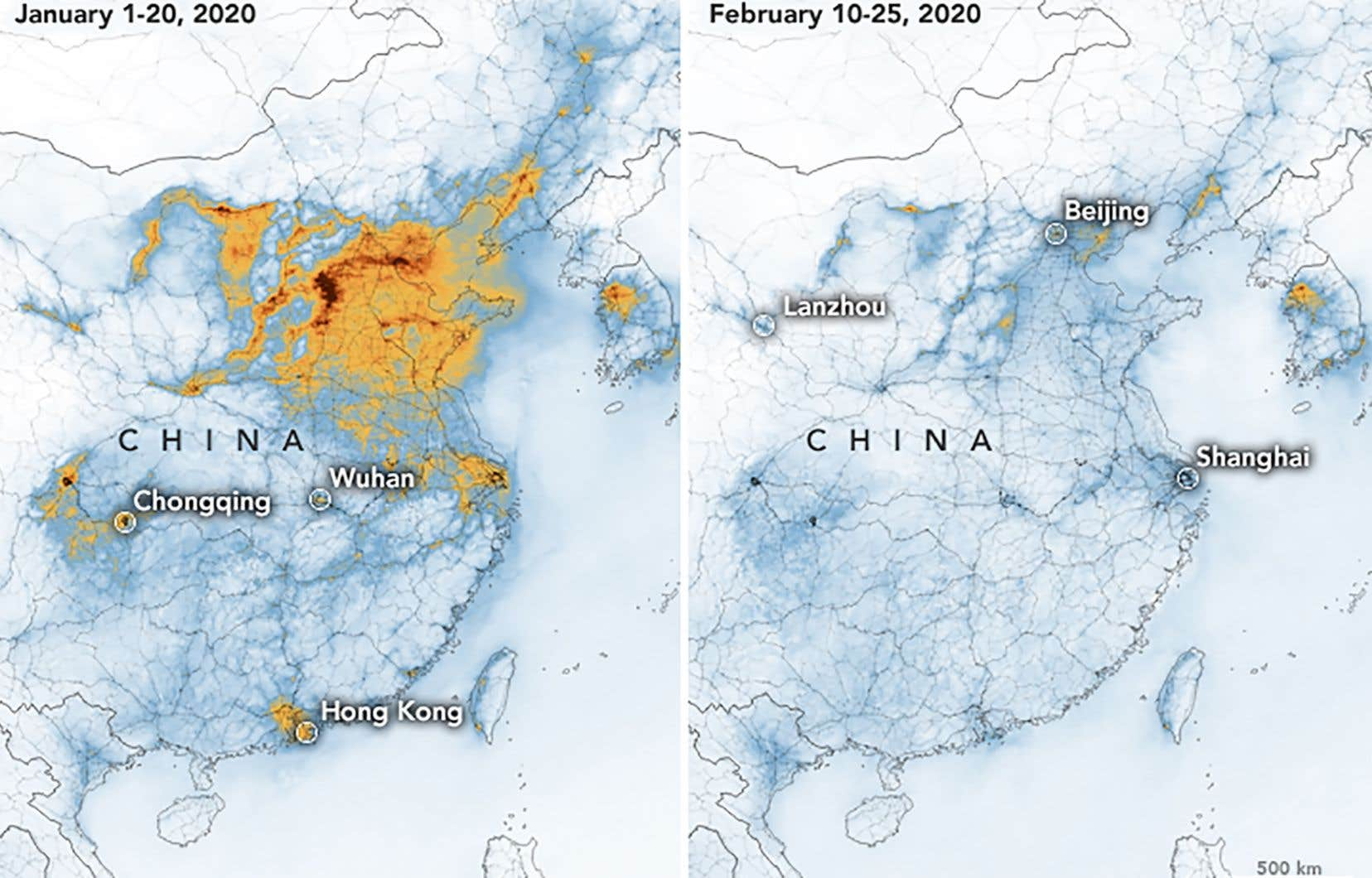 Une forte  baisse de concentration de dioxyde d'azote a été observée au-dessus de la Chine pendant le confinement.