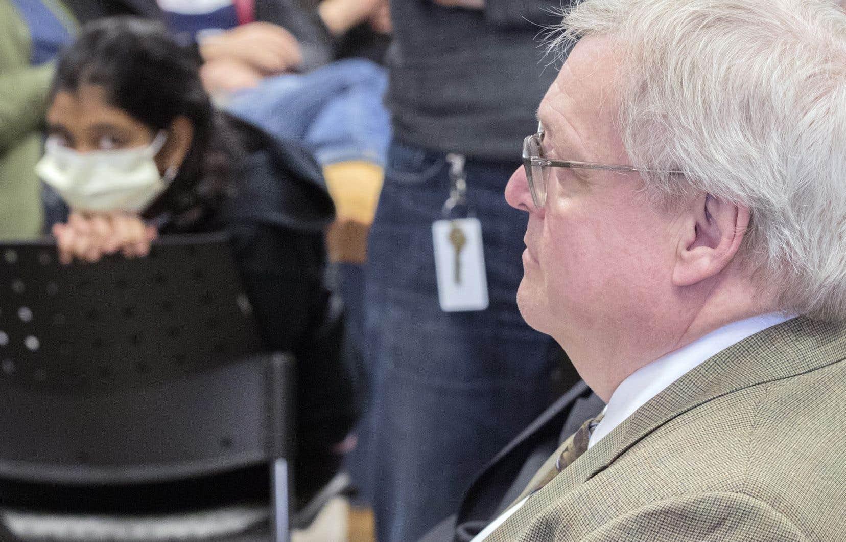 Gaétan Barrette, lors d'une conférence de presse à Montréal en février 2018