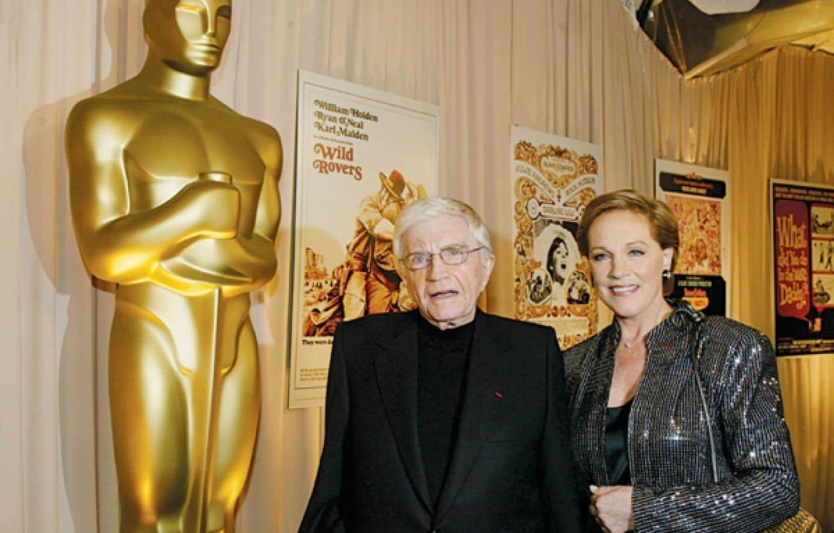 Blake Edwards et son épouse Julie Andrews, aux Oscar 2004<br />