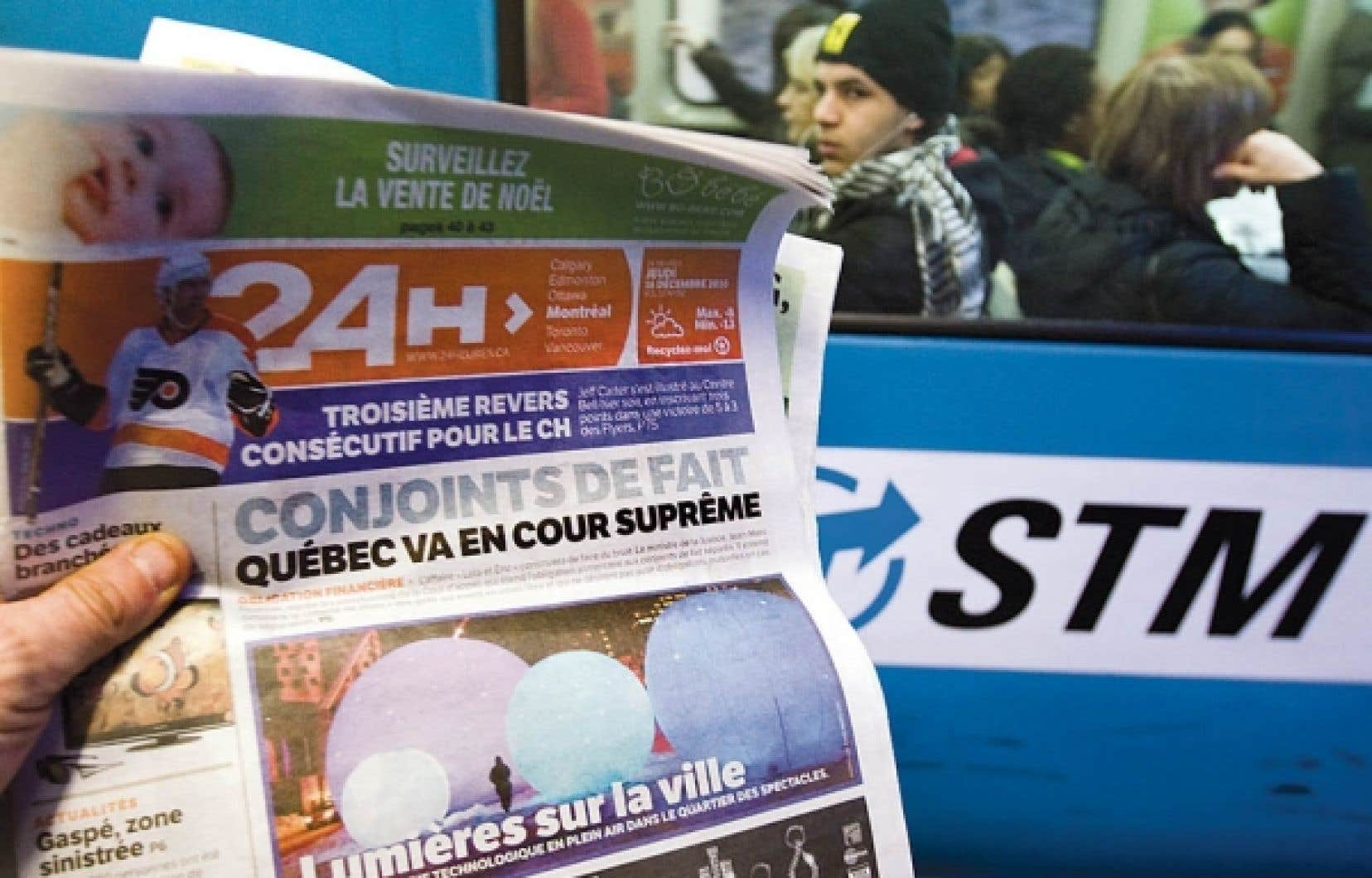 La STM accorde à Quebecor Média le droit exclusif de distribuer son journal 24 Heures dans le réseau du métro. Le contrat d'une durée de cinq ans entrera en vigueur le 3 janvier.<br />