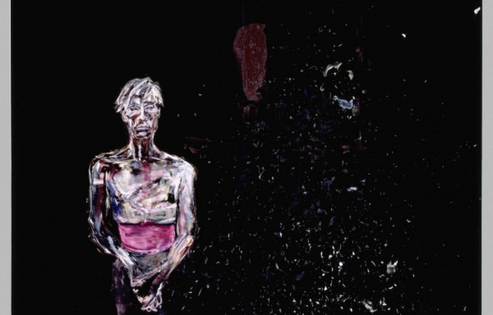 Julian Schnabel, Portrait of Andy Warhol, huile sur velours, 1982<br />