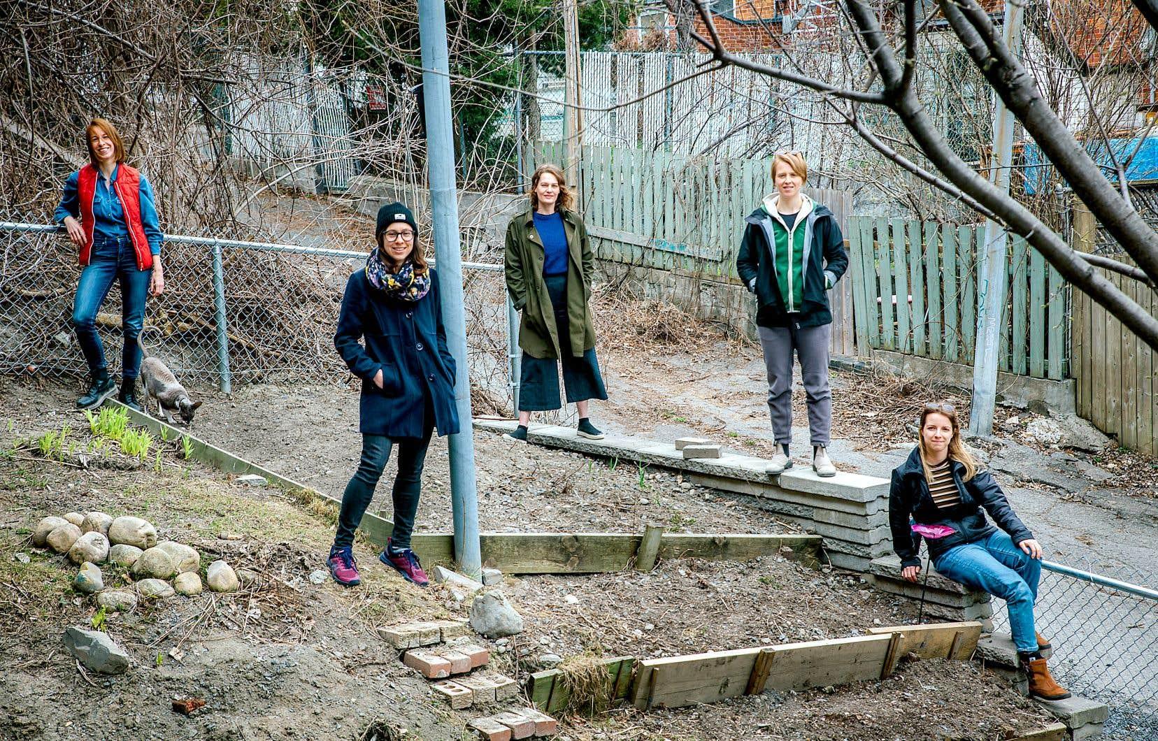 Camille Patry-Desjardins (avec un gilet rouge) et des voisines de sa coopérative d'habitation ont aménagé une partie de leur cour pour y planter des légumes.