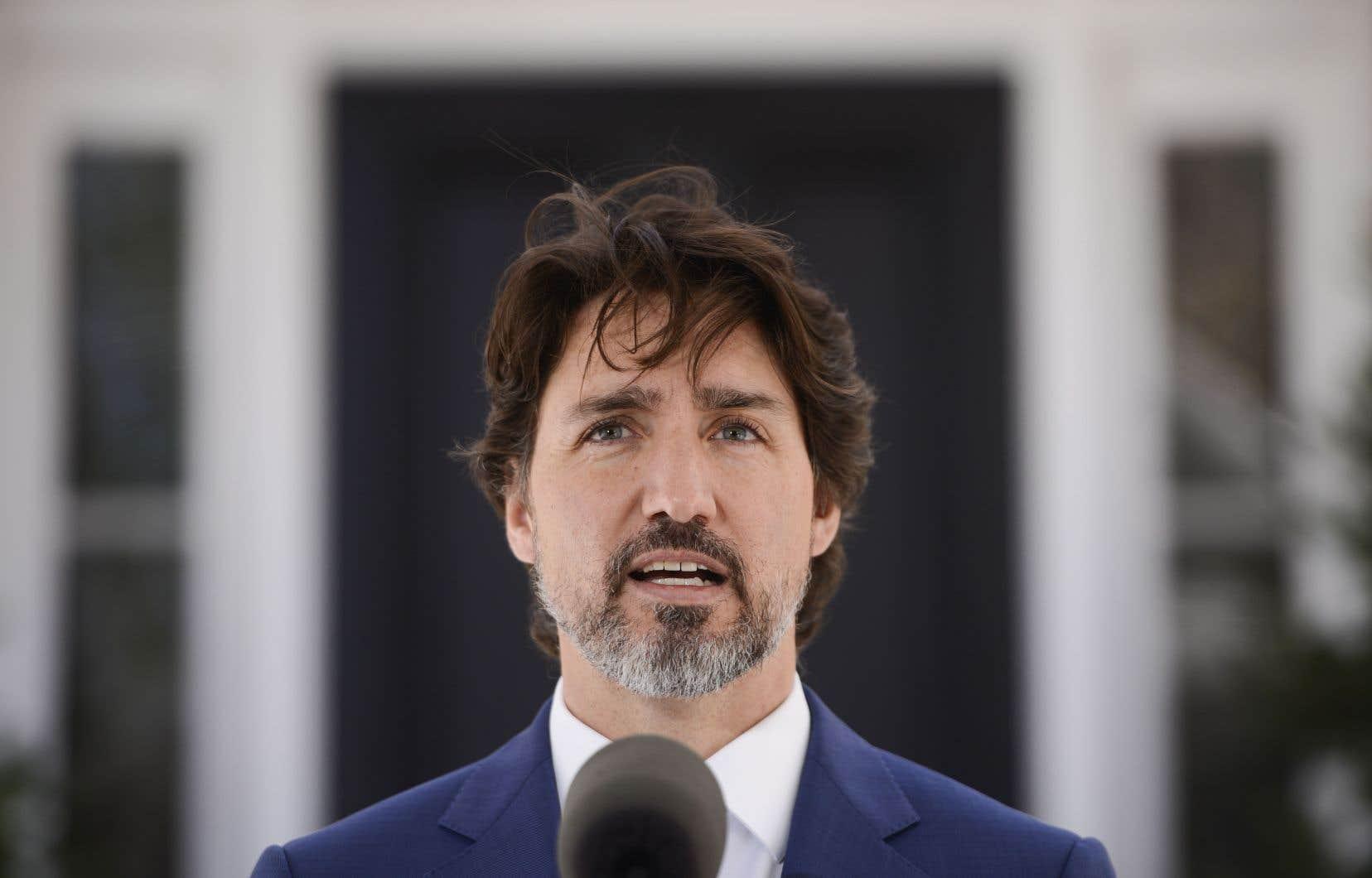 Le premier ministre Justin Trudeau, au moment de l'annonce