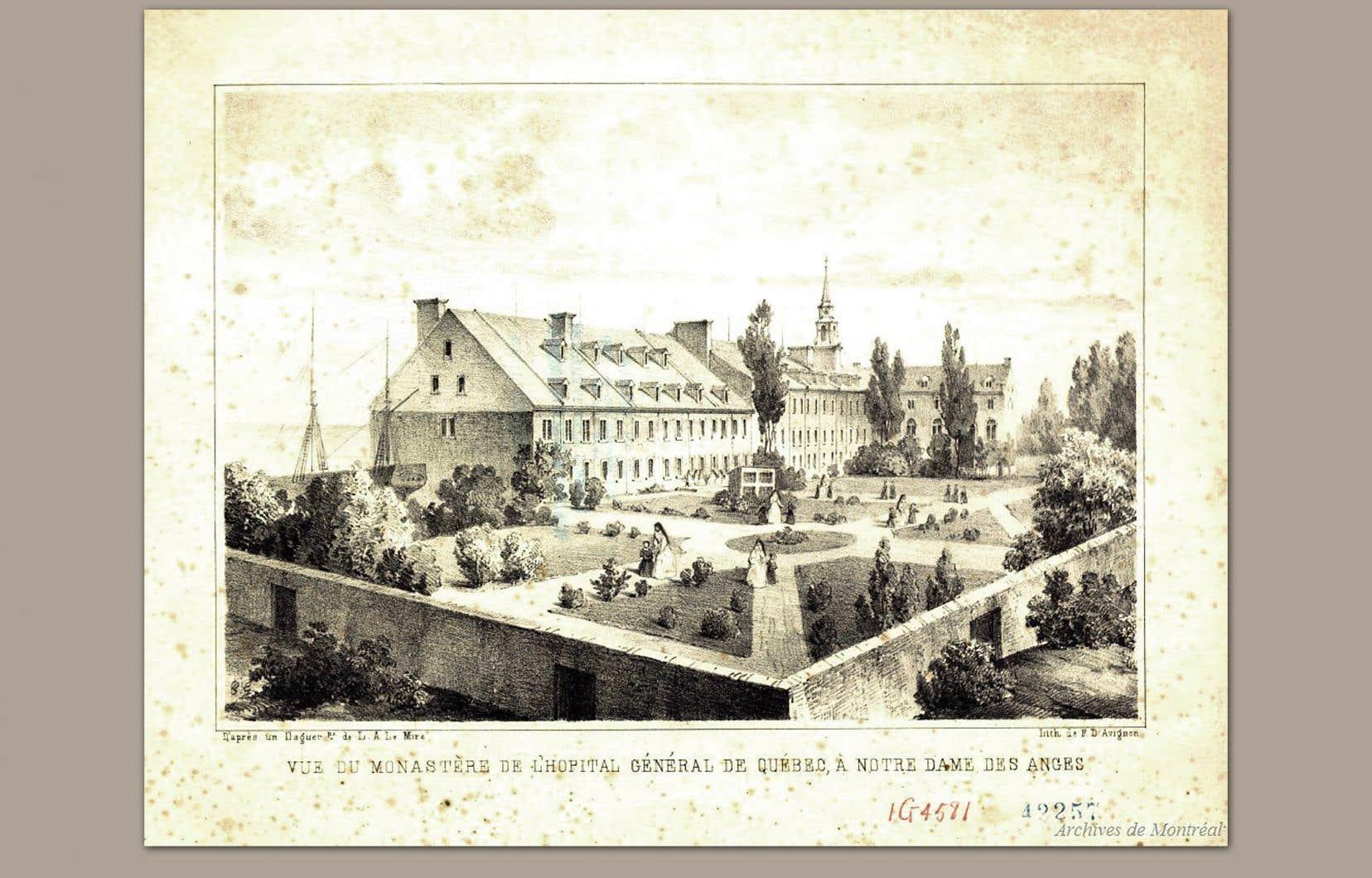 Vue du monastère de l'Hôpital général de Québec, à Notre-Dame des Anges (1855).