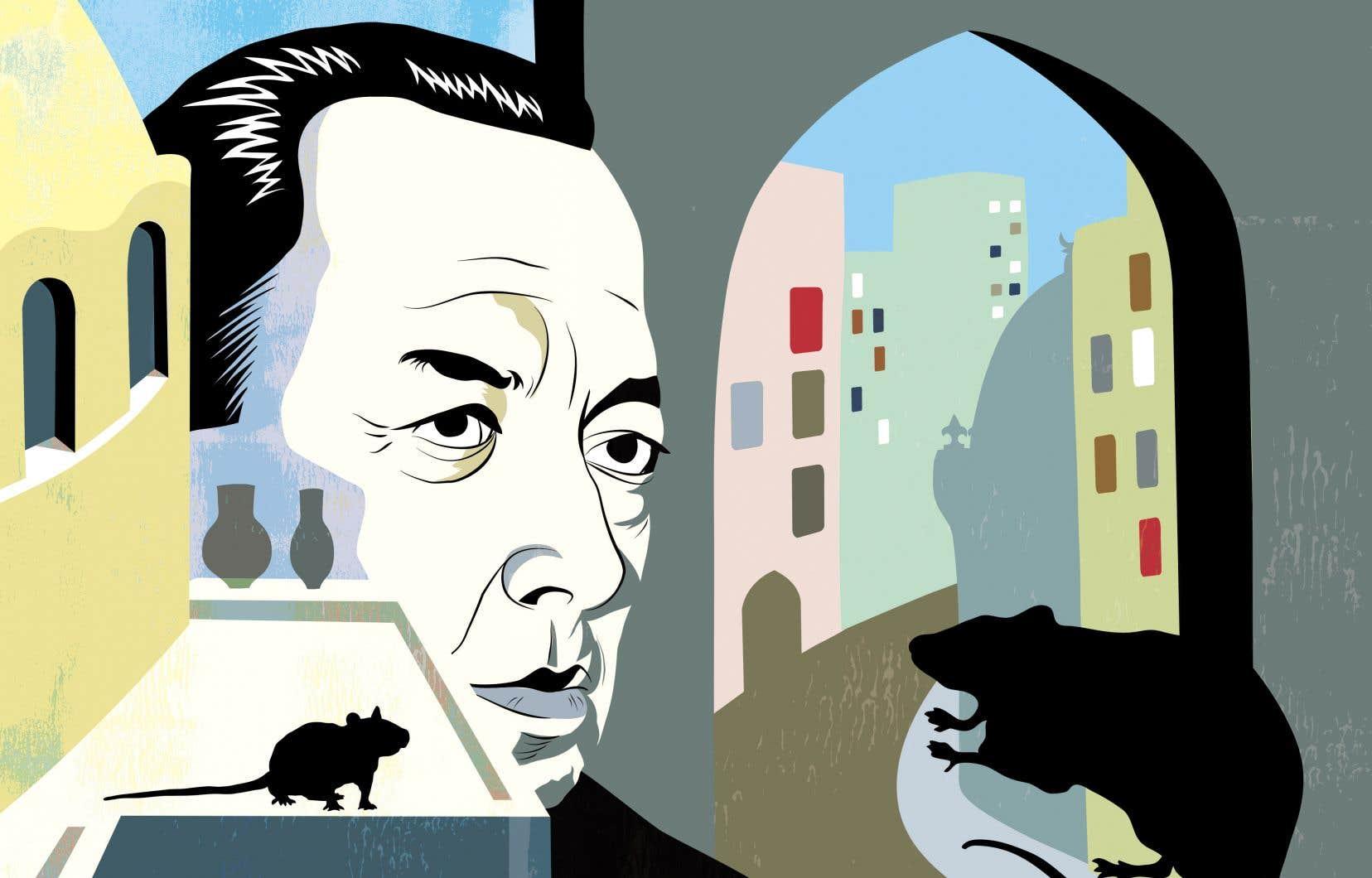 À travers les chroniques du docteur Bernard Rieux, porte-parole de Camus, le lecteur apprend qu'une peste sévit à Oran, ville de 200 000 habitants située en Algérie. La ville sera isolée pendant plusieurs mois. La peste s'était d'abord annoncée par une invasion de rats avant de se répandre chez les humains.