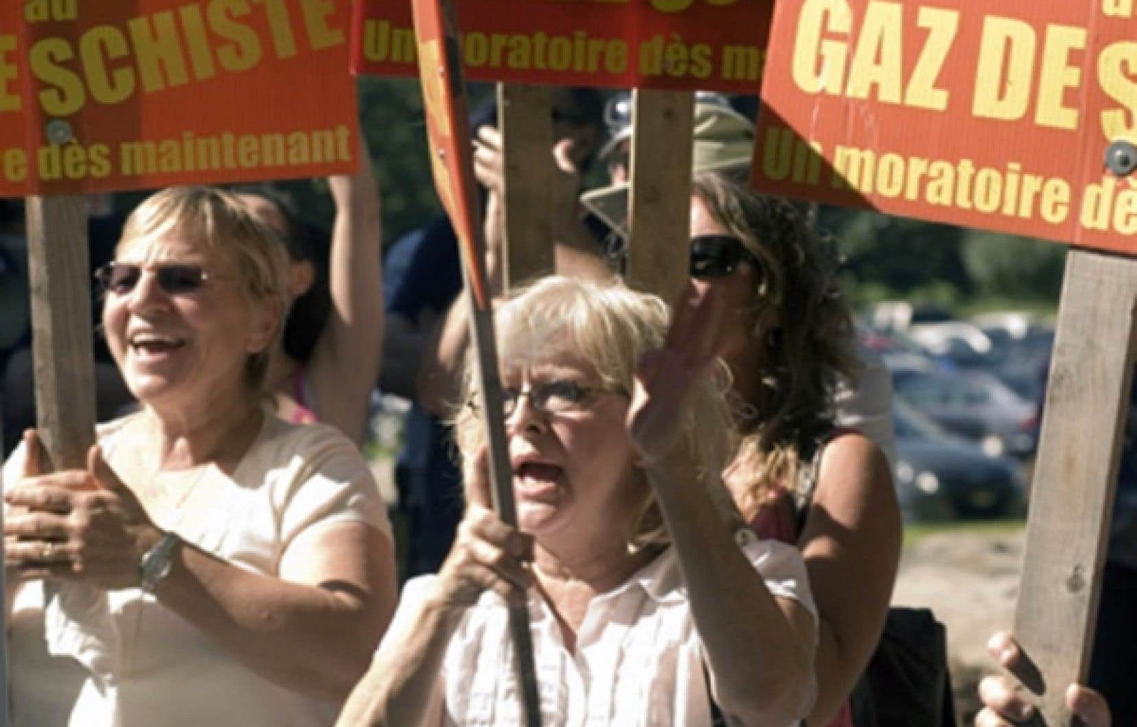 Manifestation contre les gaz de schiste en août 2010.<br />