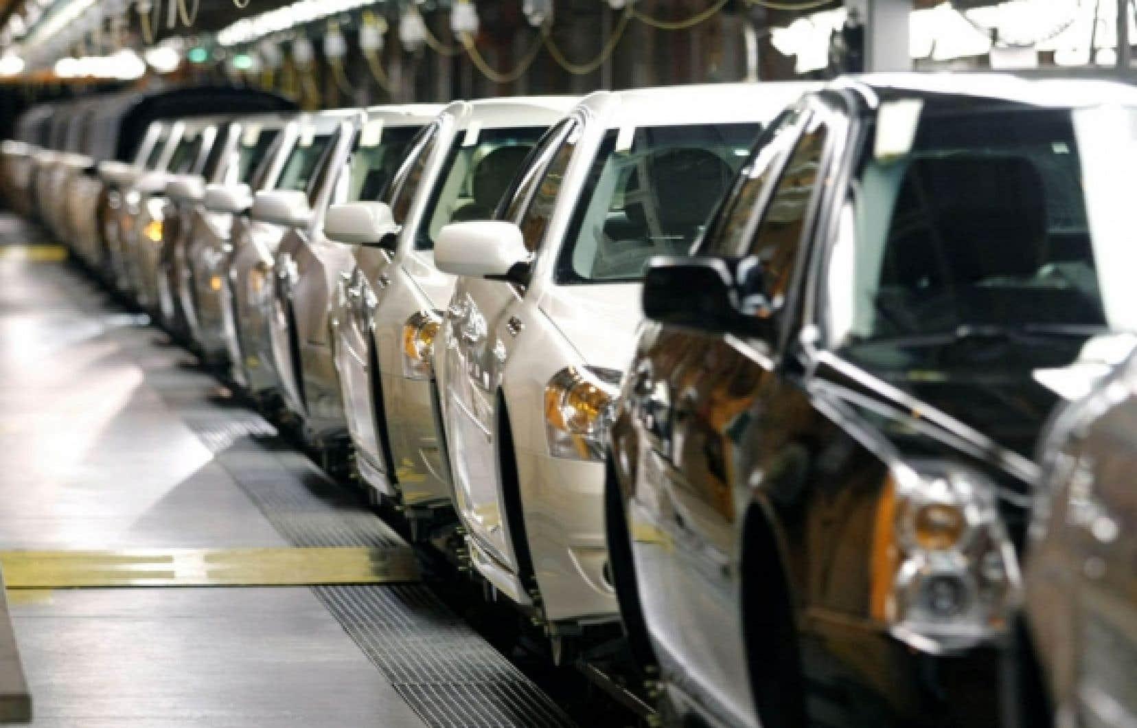 Vue de la chaîne d'assemblage de la Volt, la voiture hybride de GM.<br />
