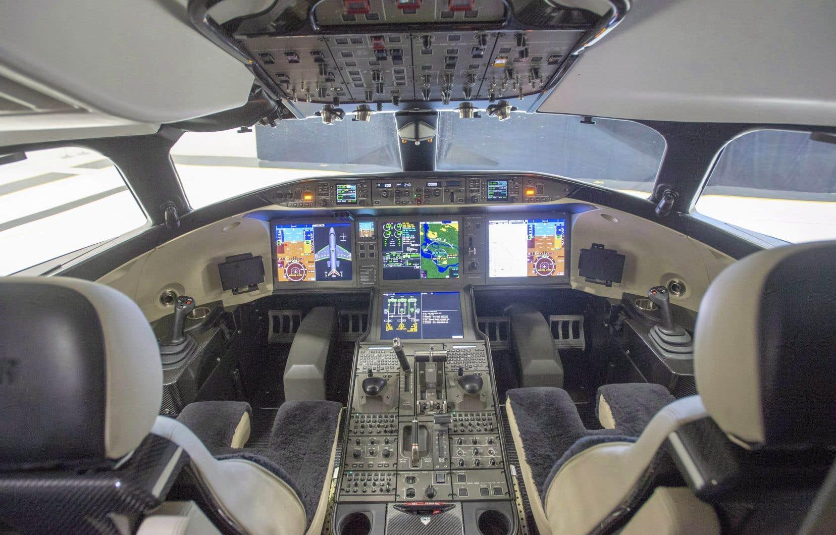 Le cockpit du Global 7500 de Bombardier. Au 31mars dernier, son carnet de commandes pour les avions d'affaires était en baisse de 6% par rapport à 2019.