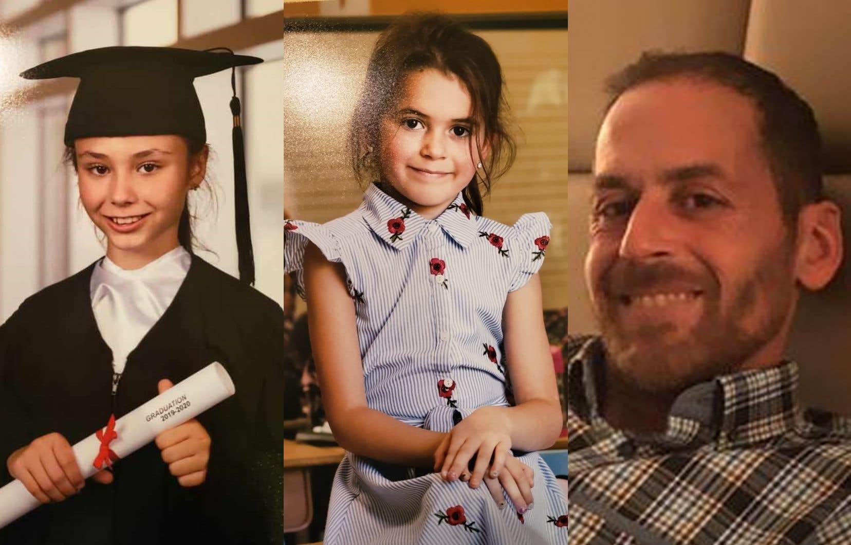 Les deux enfants disparues, Norah et Romy Carpentier, 11 et 6 ans, et le suspect,Martin Carpentier, 44 ans.