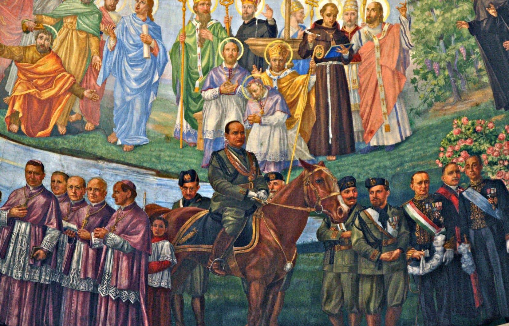 Fresque dédiée à Benito Mussolini réalisée dans les années 1930 par Guido Nincheri, dans l'église Notre-Dame-de-la-Défense.