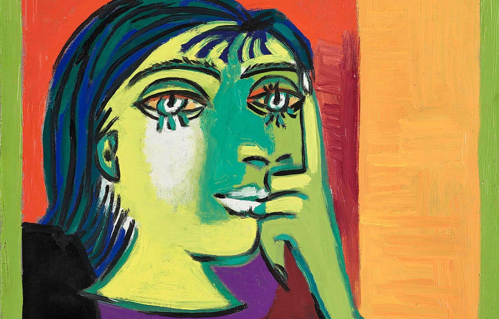 Pablo Picasso, «Portrait de Dora Maar», 1937. Huile sur toile, 55,3 x 46,3 cm (détail).