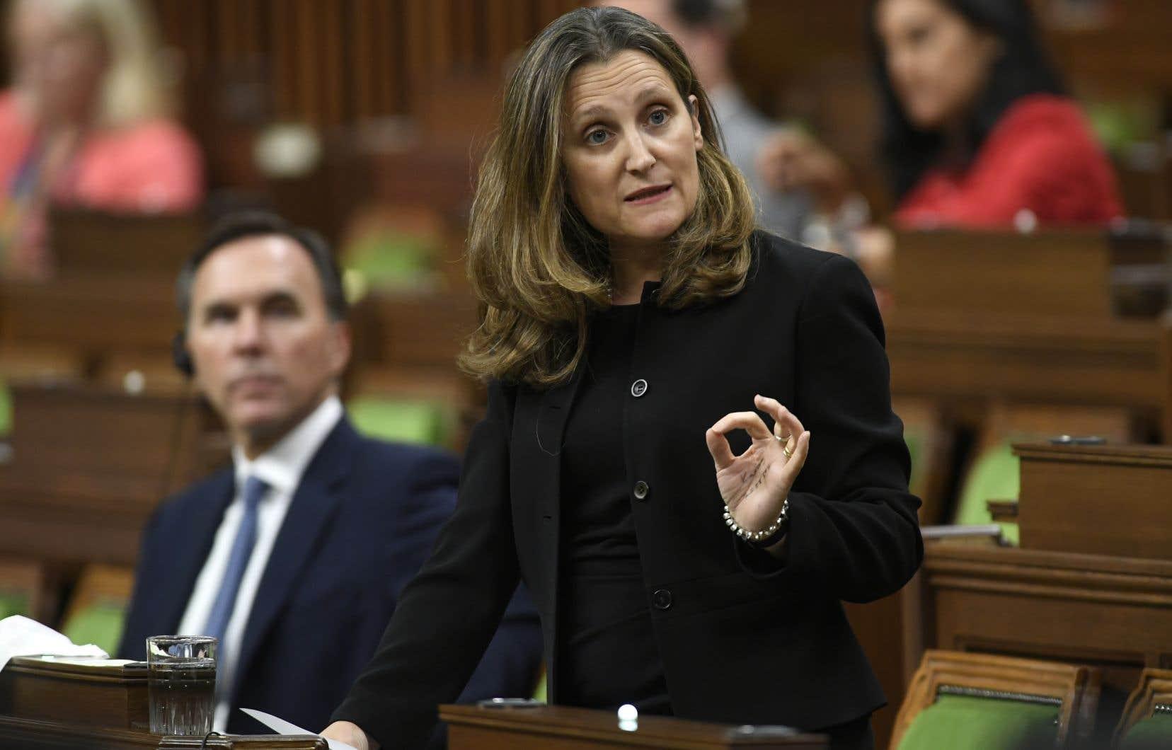 Justin Trudeau ne s'est pas présenté à la Chambre des communes, il a laissé sa place à Chrystia Freeland.