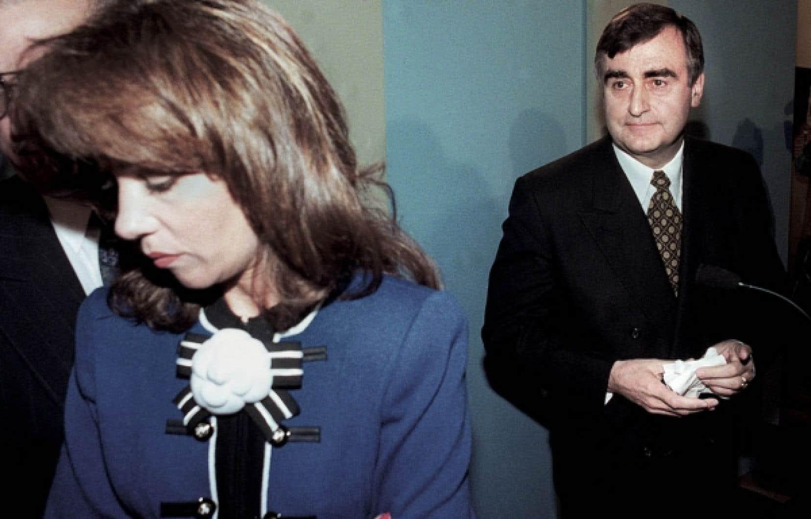 Audrey Best en compagnie de Lucien Bouchard, alors chef du Parti québécois.<br />