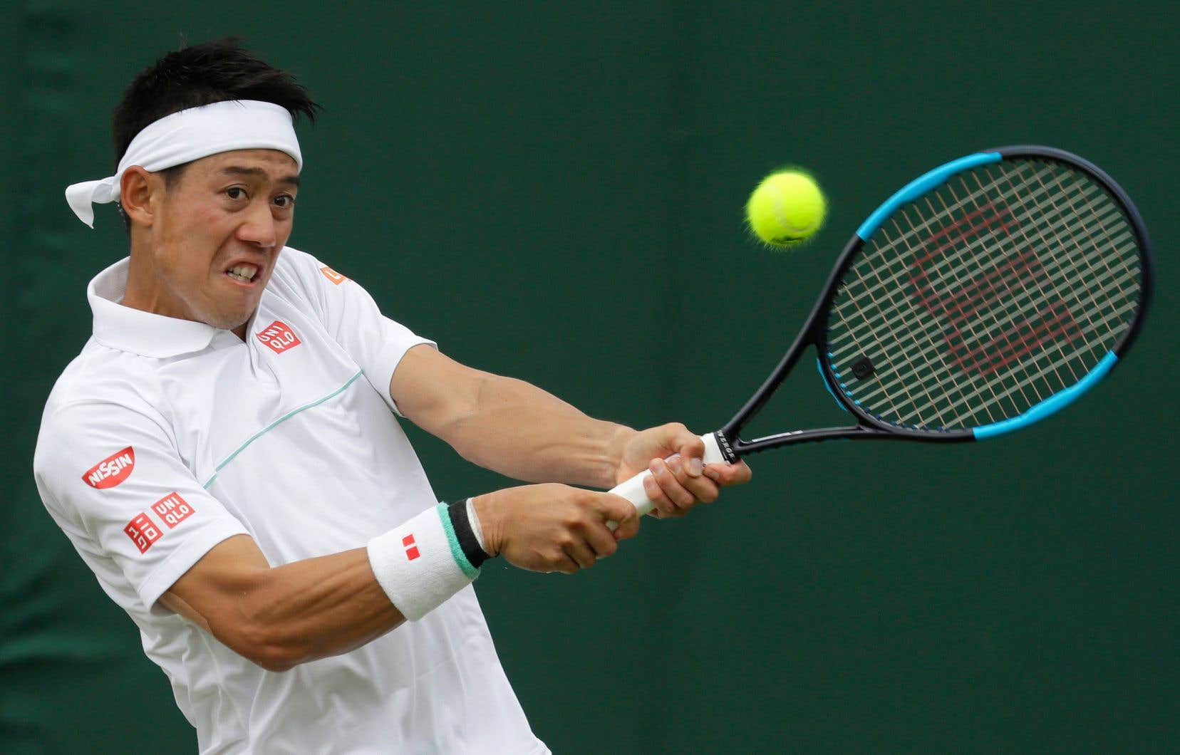 Kei Nishikori lors Tournoi de Wimbledon en 2019