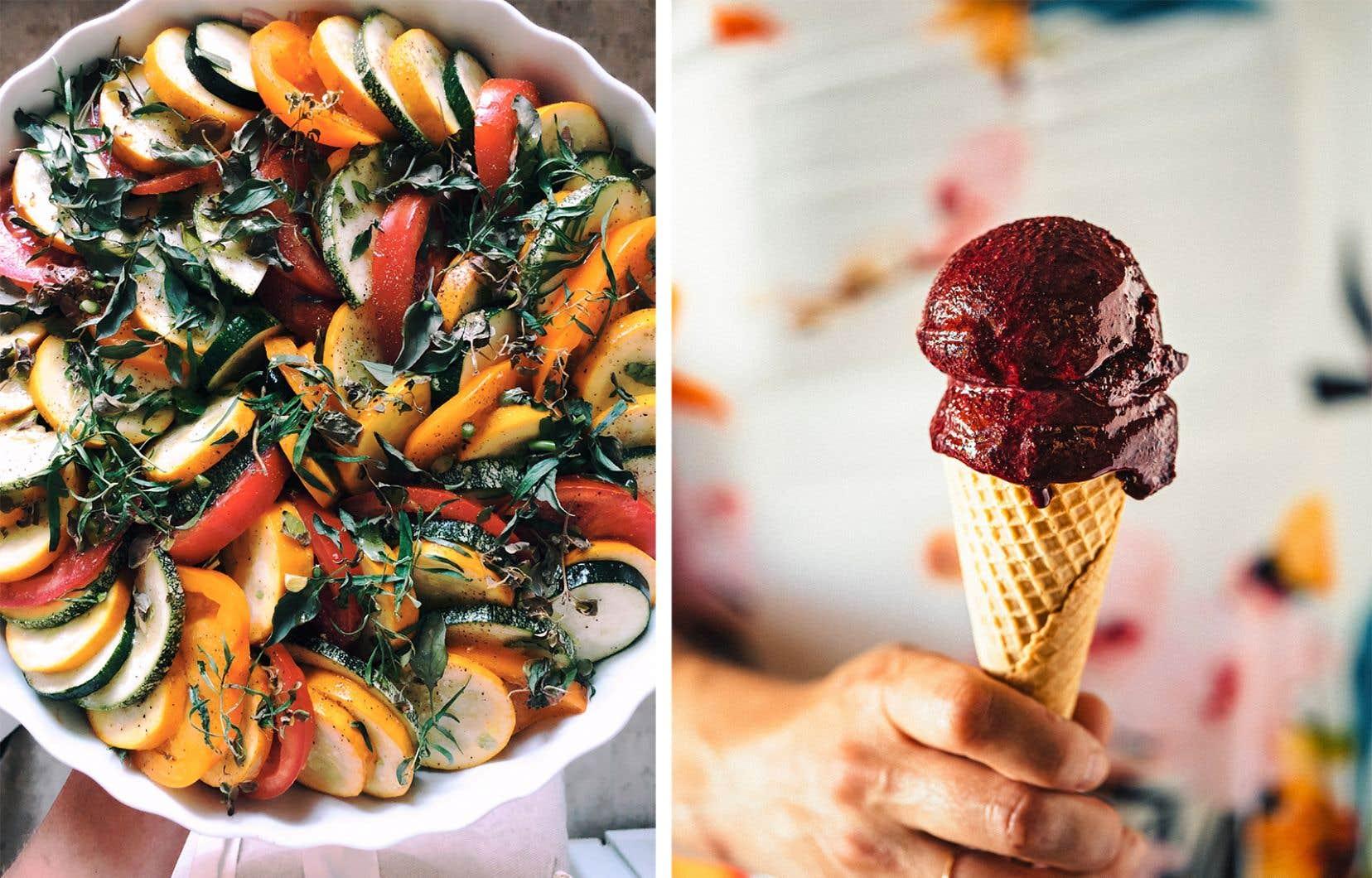 Un tian de courgettes et de tomates ainsi qu'un cornet de yogourt glacé camerise, menthe et mélilot