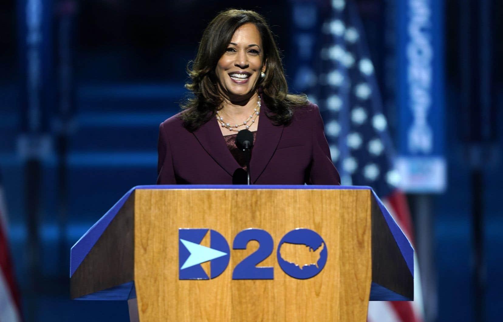 La colistière de Joe Biden, Kamala Harris, lors de son discours de mercredi soir.