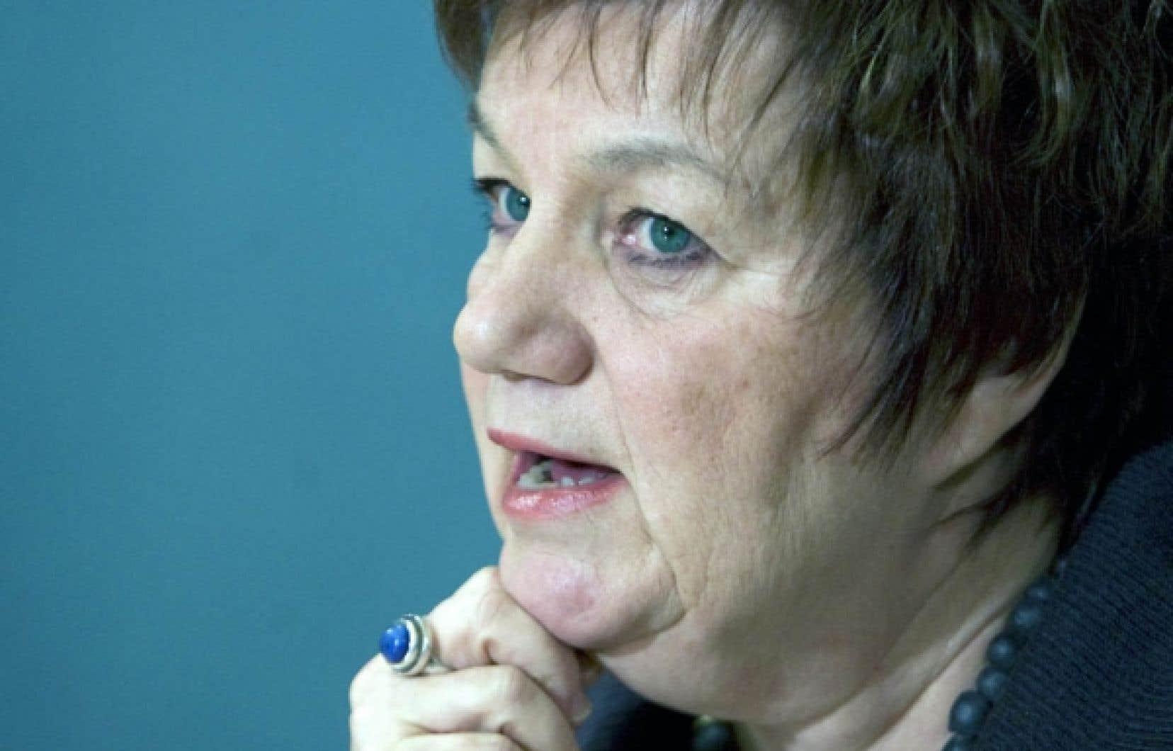 La pr&eacute;sidente de la CSN, Claudette Carbonneau. La CSN est partie prenante des efforts qui sont consentis pour rendre le travail plus d&eacute;cent &agrave; travers la plan&egrave;te. <br />