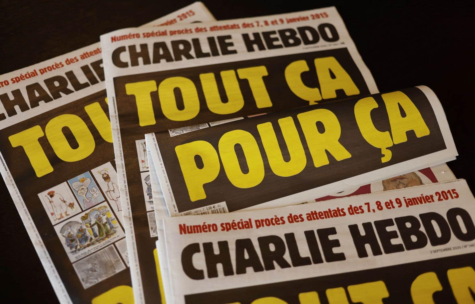 La Une du prochain Charlie Hebdo, sous le titre «Tout ça pour ça», reproduit aussi une caricature du prophète signée par son dessinateur Cabu, assassiné dans l'attentat du 7janvier 2015.