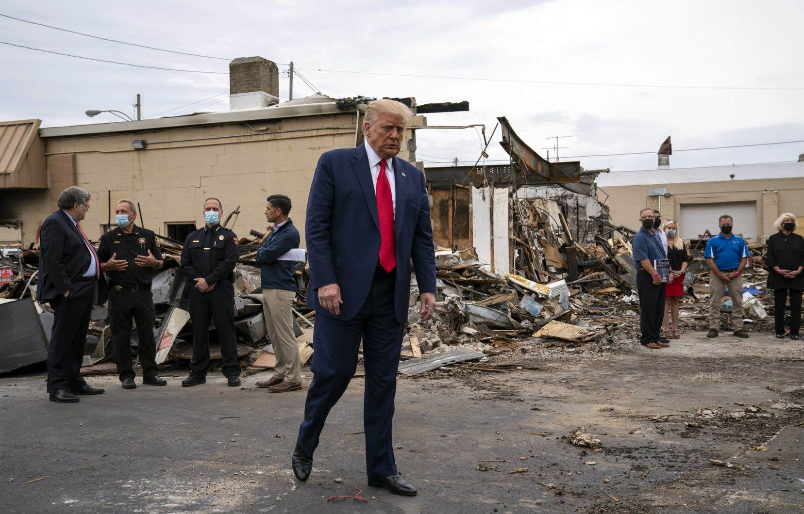 De passage à Kenosha mardi, le président américain sortant, Donald Trump, a cherché une nouvelle fois à faire porter le chapeau au démocrate pour la violence urbaine qui se répand depuis le début de l'été dans plusieurs villes du pays. Sur la photo, un secteur de la ville récemment endommagé lors de rassemblements en soutien à Jacob Blake.