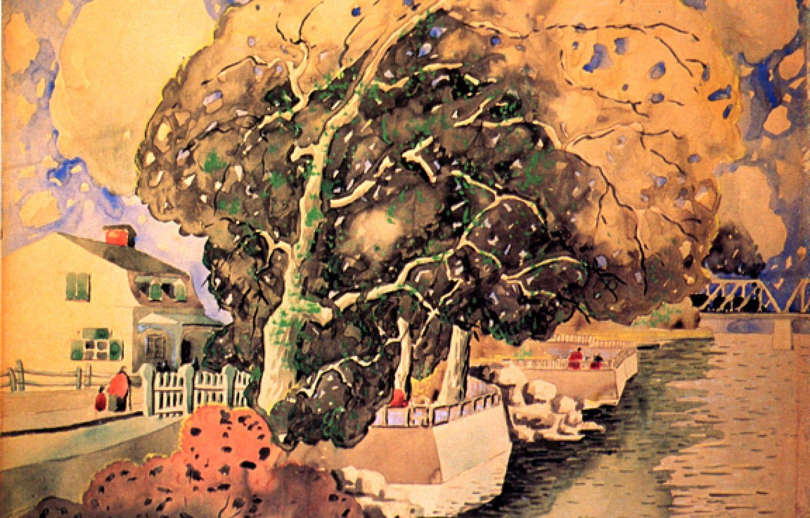 «Pont de Cartierville», Marc-Aurèle Fortin, 1925, aquarelle et pastel sur papier, 38,1 x 55,8 cm