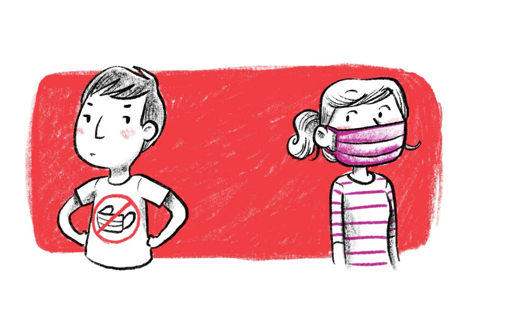 Depuis la mi-juillet, le gouvernement québécois exige le port du masque pour toutes les personnes de 12ans et plus qui veulent accéder à des endroits publics fermés, comme l'école, l'épicerie, l'autobus et les magasins.