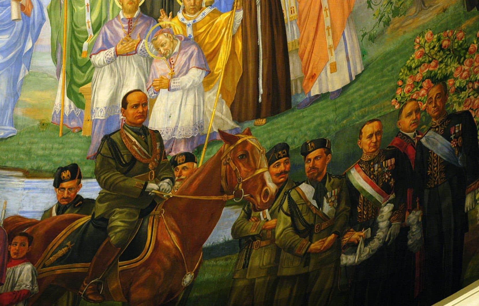 L'œuvre de Guido Nincheri orne, depuis 1931, l'église Notre-Dame-de-la-Défense. À l'époque, «les idées du fascisme trouv[aient] aussi des adeptes à Montréal à cause de l'influence des associations, des journaux et de l'Église catholique», indiquent les signataires d'une pétition demandant la recontextualisation de la fresque.
