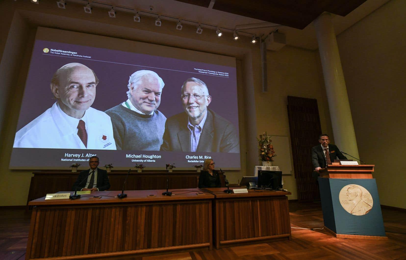 Harvey Alter, Michael Houghton et Charles Rice sont récompensés pour leur «contribution décisive», à des années d'écart, à «la découverte du virus de l'hépatite C», a indiqué le jury Nobel.