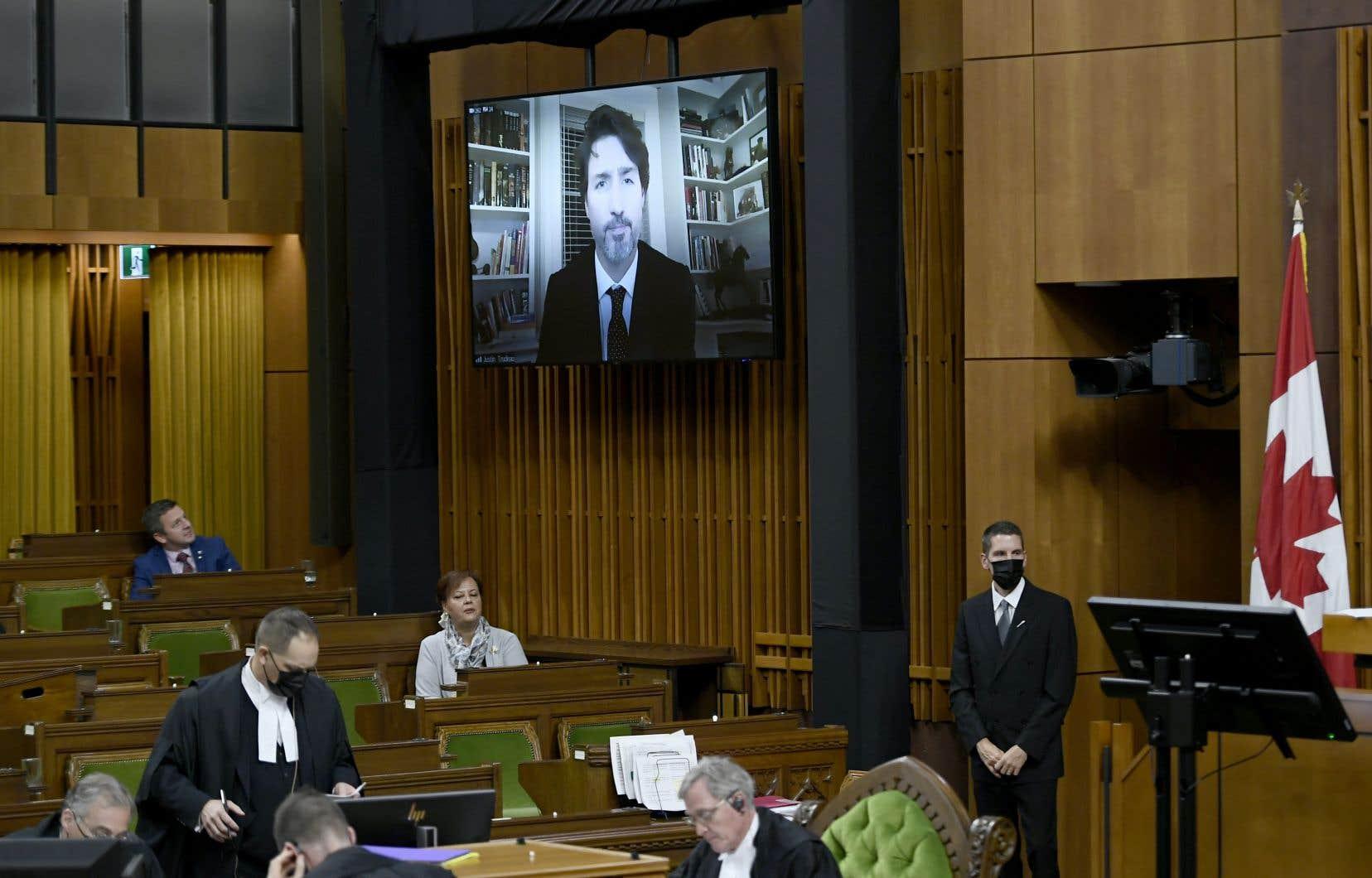 Le premier ministre Justin Trudeau participait via visioconférence au vote sur le discours du Trône, à la Chambre des communes.