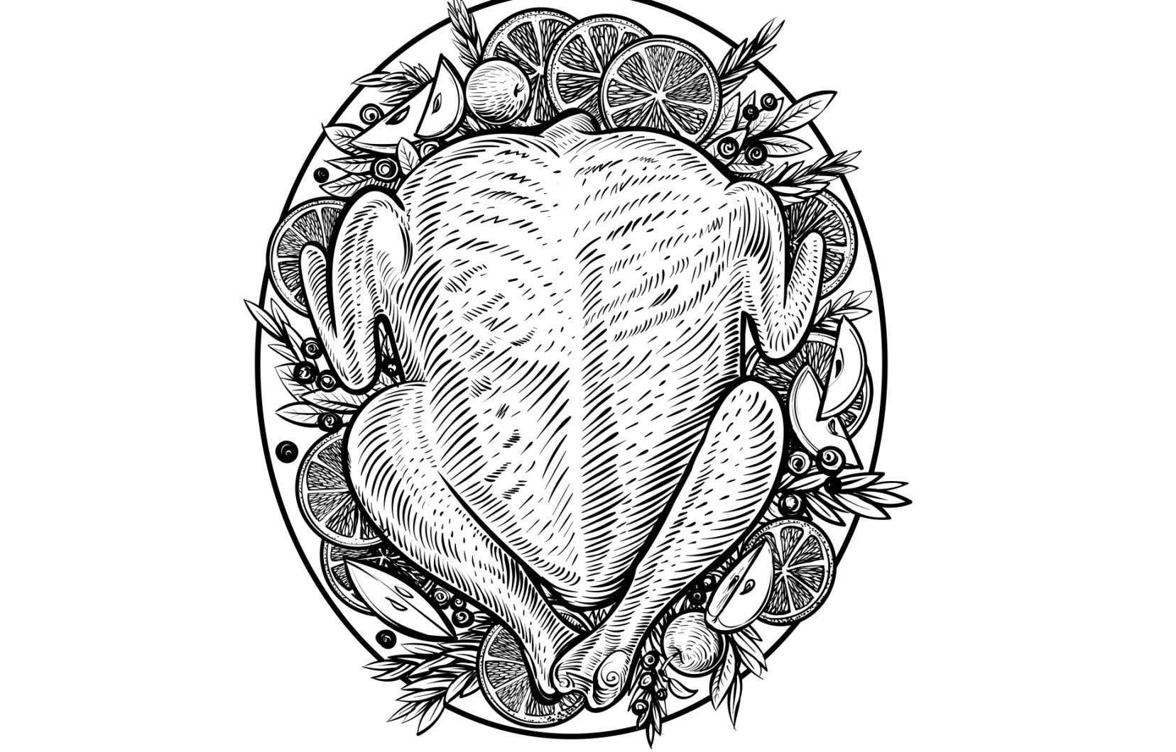 La recette peut être adaptée pour un dindon entier, en respectant le temps de cuisson de 20 minutes par livre et en augmentant les quantités en fonction du poids de l'oiseau.