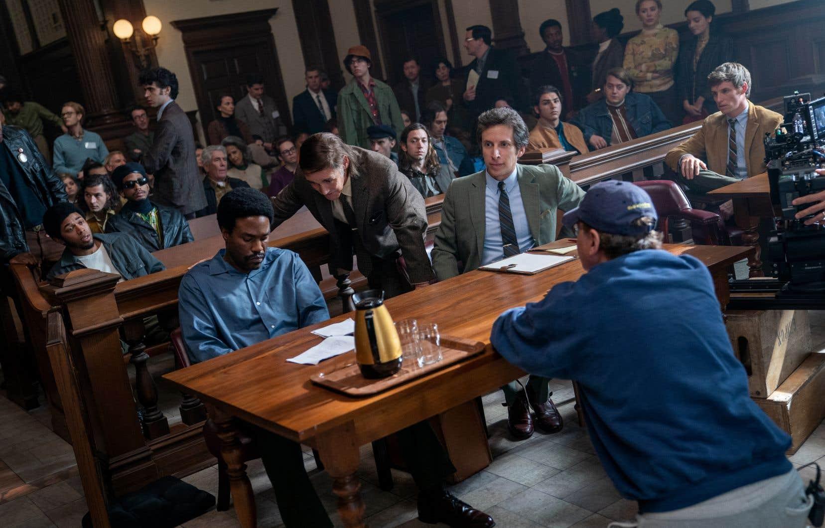 Le tournage du drame judiciaire «The Trial of the Chicago 7», avec les acteurs Kelvin Harrison Jr, Yahya Abdul-Mateen II, Mark Rylance, Eddie Redmayne (à droite) et le réalisateur Aaron Sorkin (de dos)
