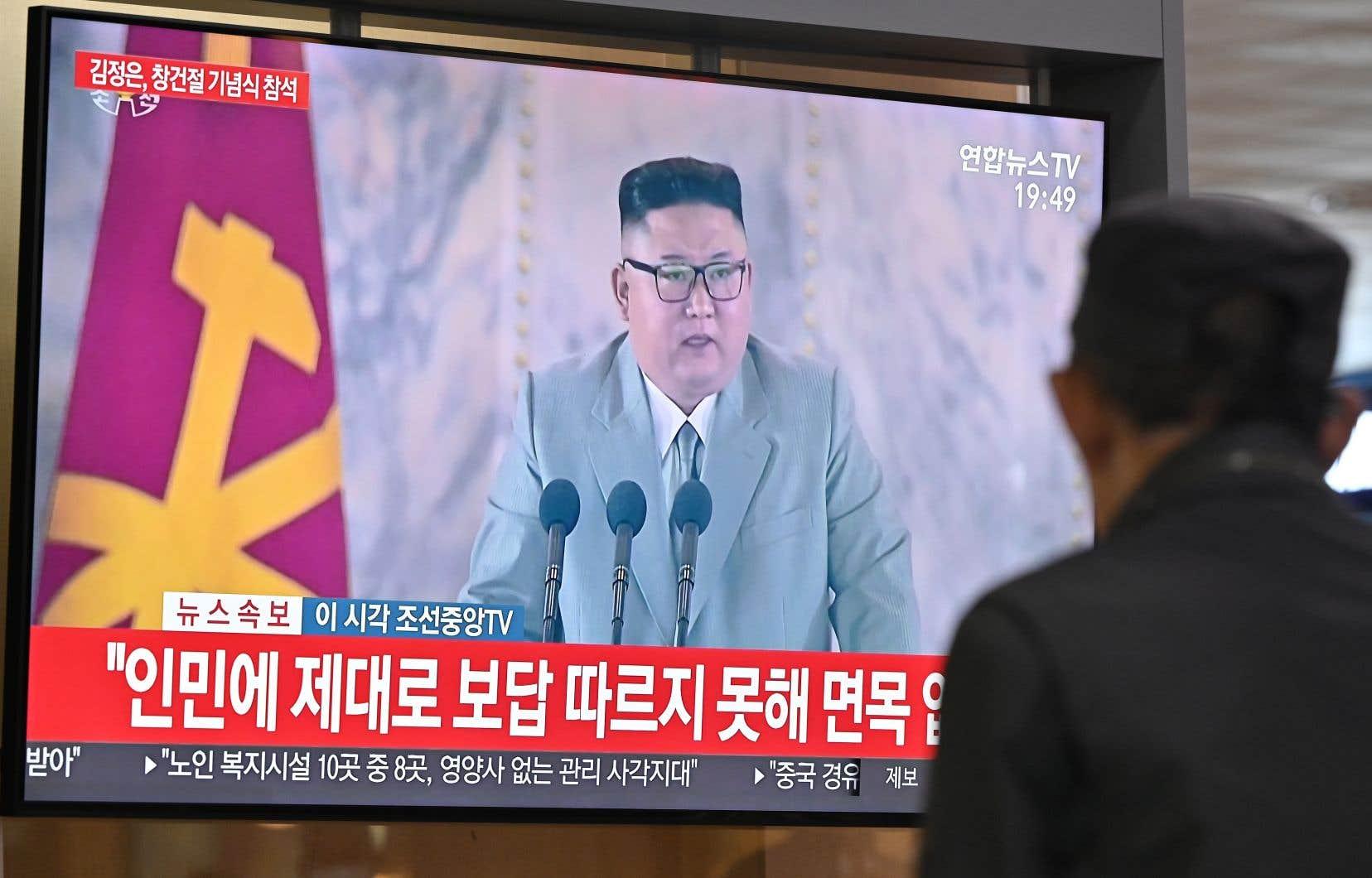 Le défilé (ici diffusé à Séoul) était organisé à l'occasion du 75eanniversaire de la fondation du Parti des travailleurs, au pouvoir dans le pays doté de l'arme nucléaire.