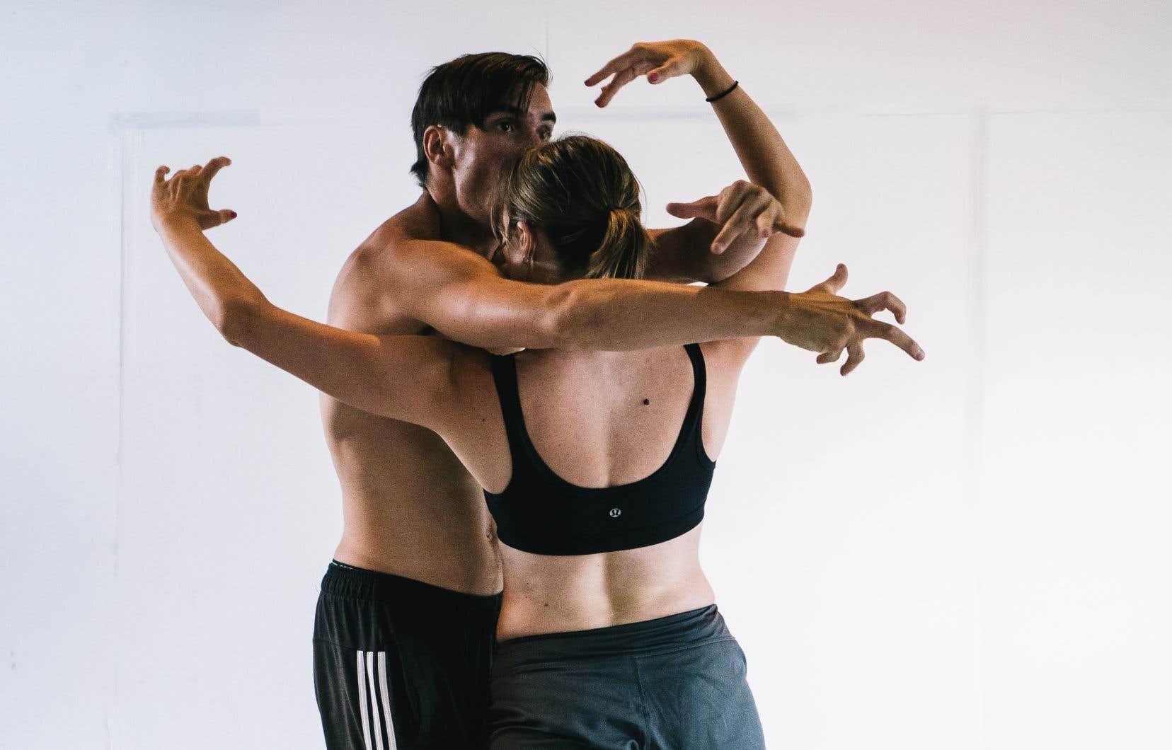 Les danseurs Daphné Laurendeau et Danny Morissette en répétition au studio White Wall en juillet dernier