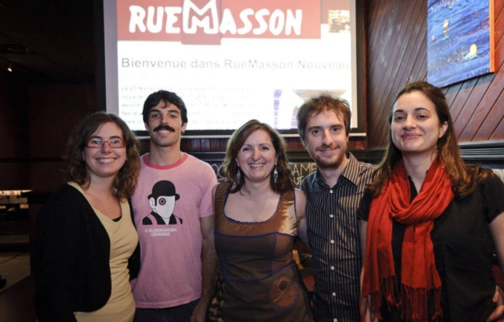 L'équipe de RueMasson.com: Lisa Marie Noël, Éric Noël, Cécile Gladel, David Bruneau et Stéphanie Lalut. <br />