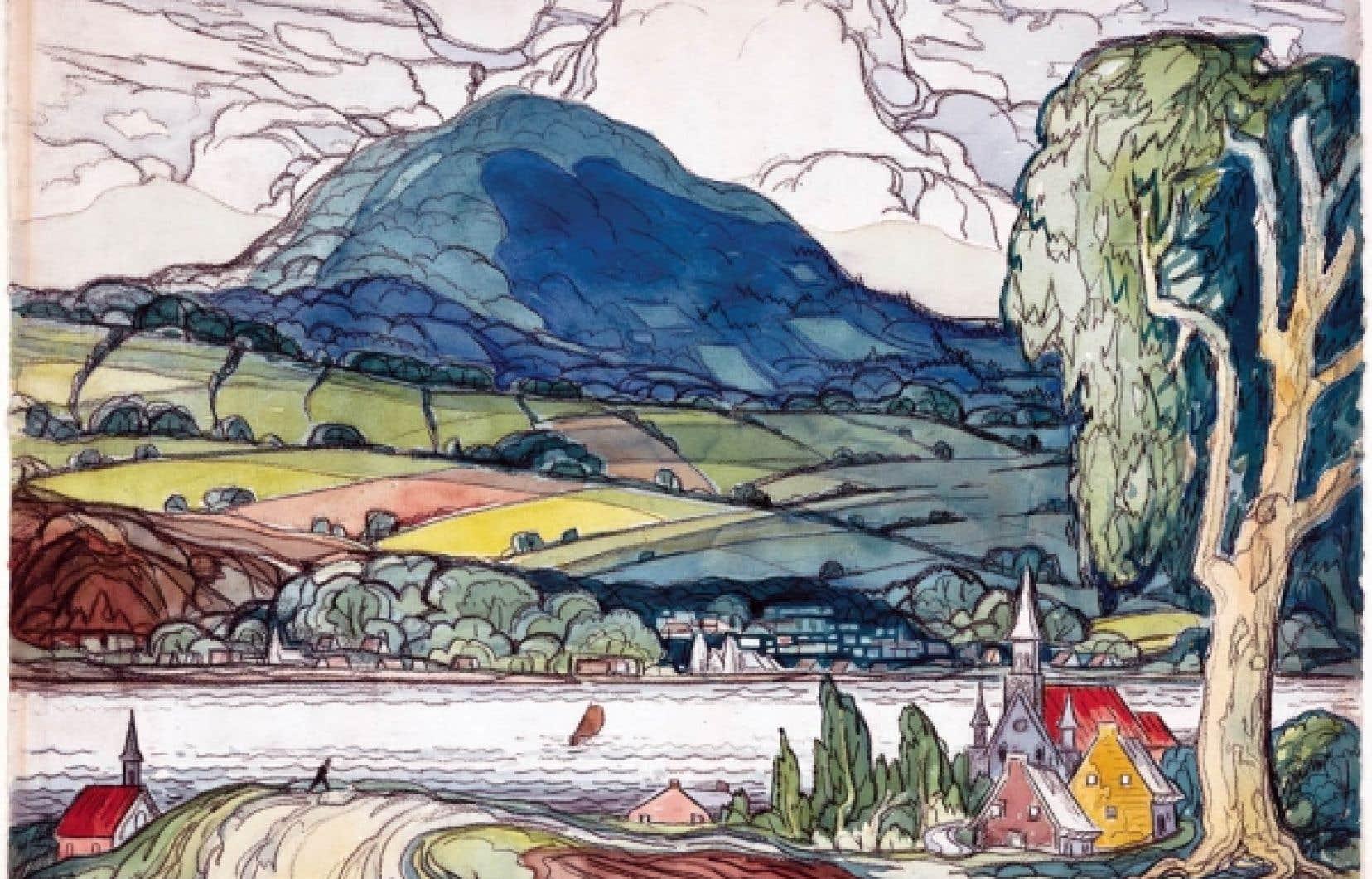 Marc-Aurèle Fortin, Sainte-Famille, île d'Orléans, 1941. Aquarelle et craie noire sur papier.
