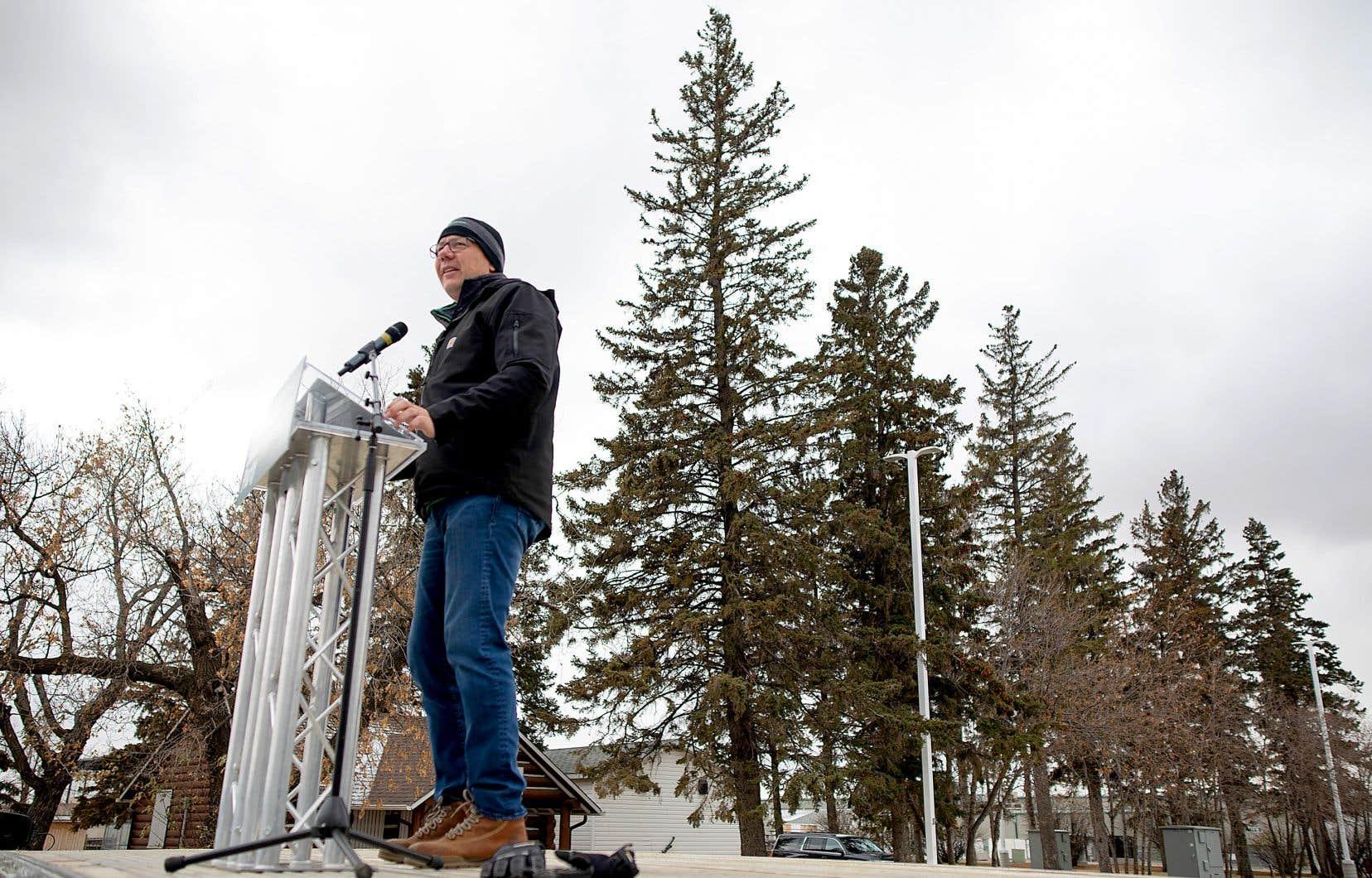 Le premier ministre et chef du Parti saskatchewanais lors d'un rassemblement partisan à Saskatoon,vendredi