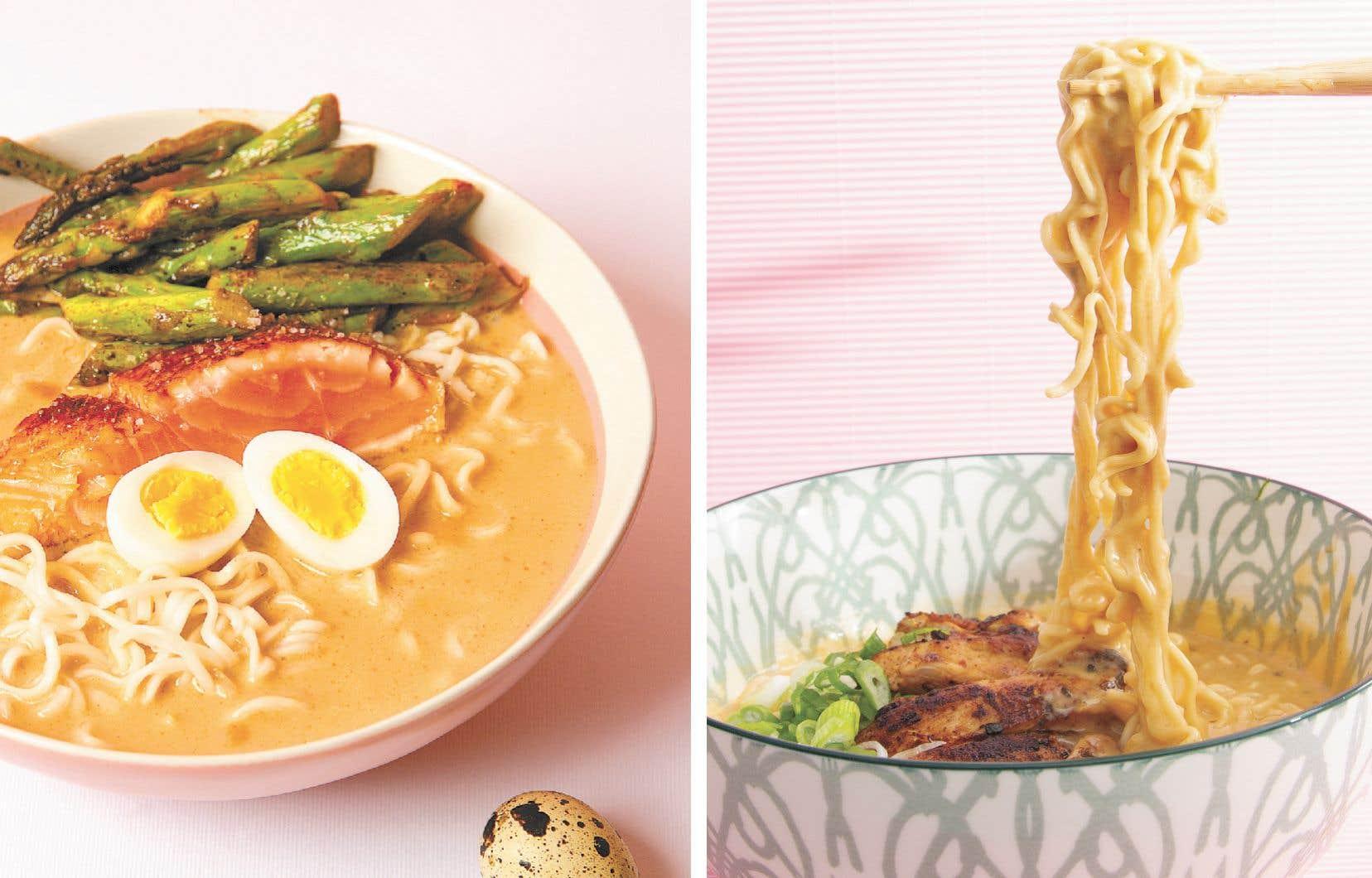 Geneviève Everell a créé une centaine de recettes de soupes, dont la soupe Saumon et asperges citronnées ainsi que la soupe Ramen and cheese.