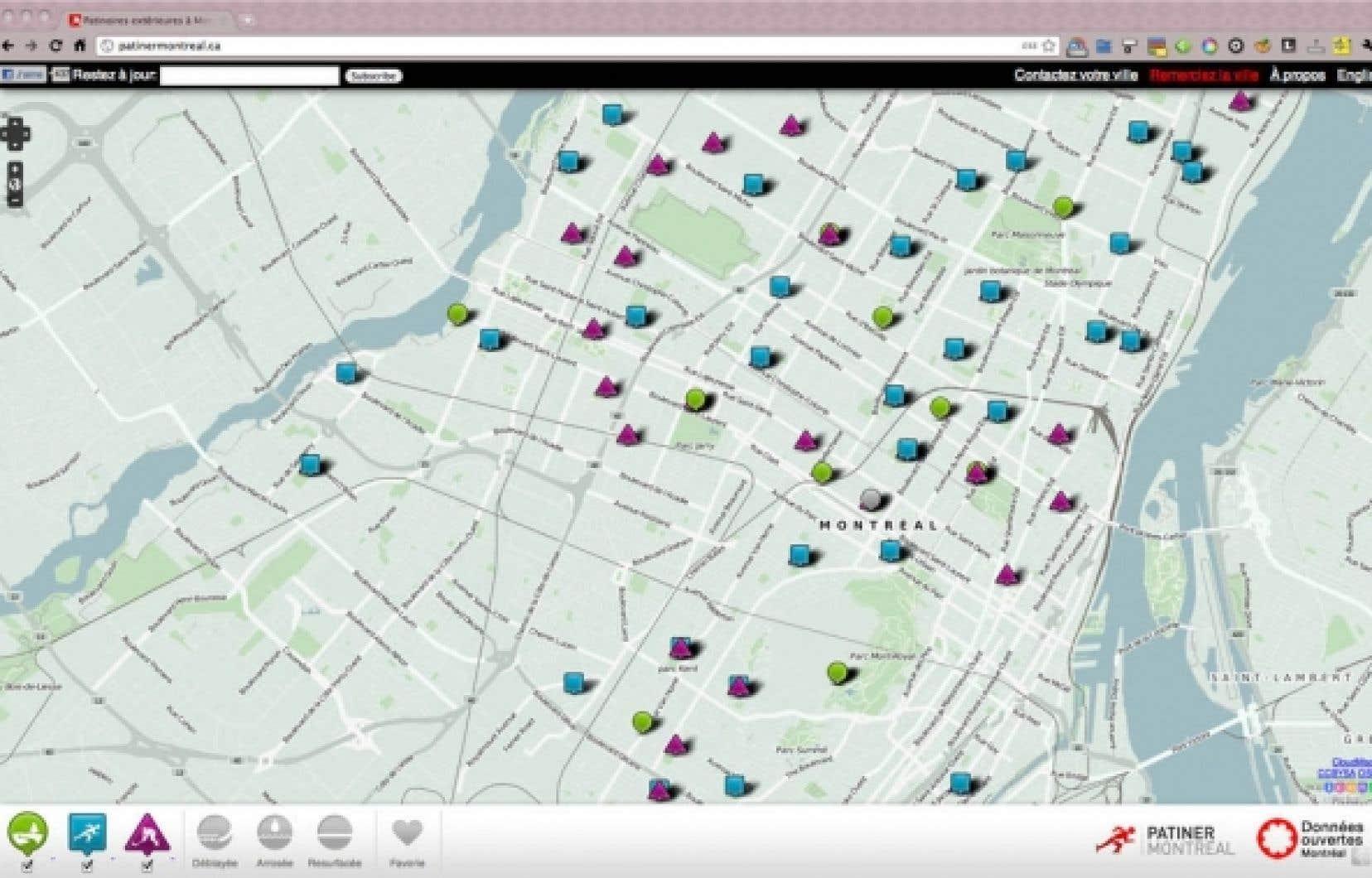 Patinermontreal.ca livre les informations sur l'état des patinoires et des sentiers de ski de la ville, que le citoyen peut consulter par l'entremise de cette application pour appareil mobile.