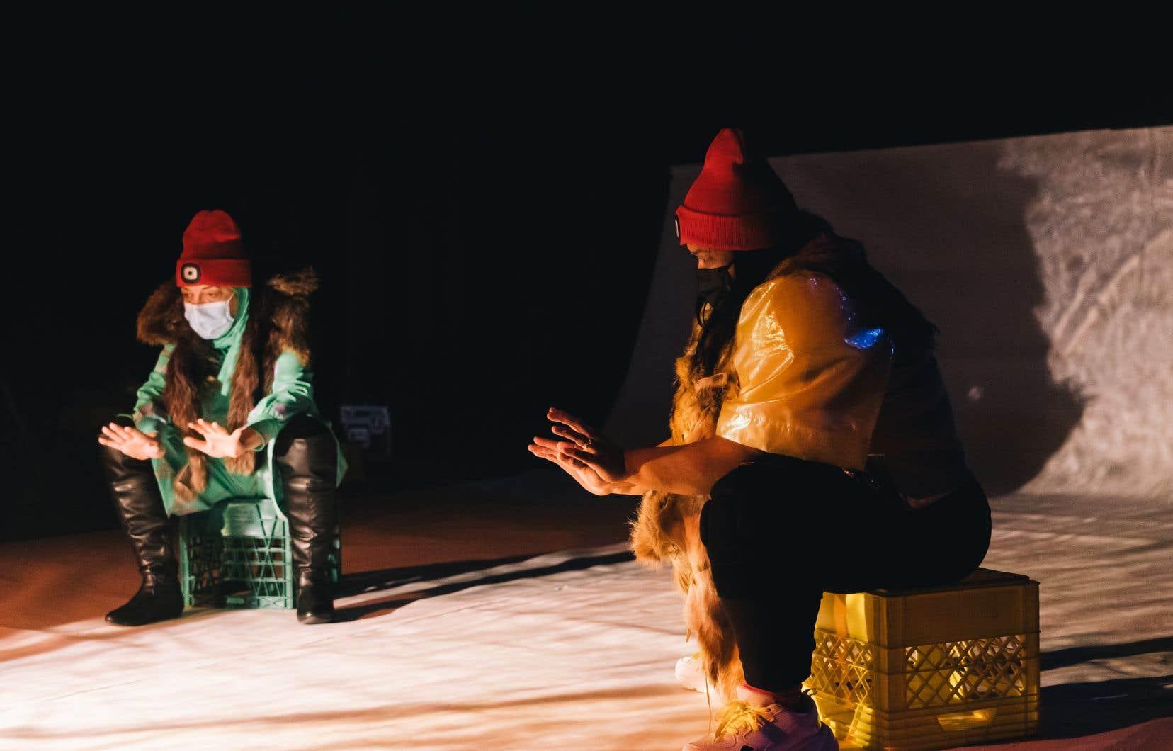 Une scène de «Habibi's Angels», mis en scène par Sophie Gee, en répétition au théâtre La Chapelle. La création sera webdiffusée.
