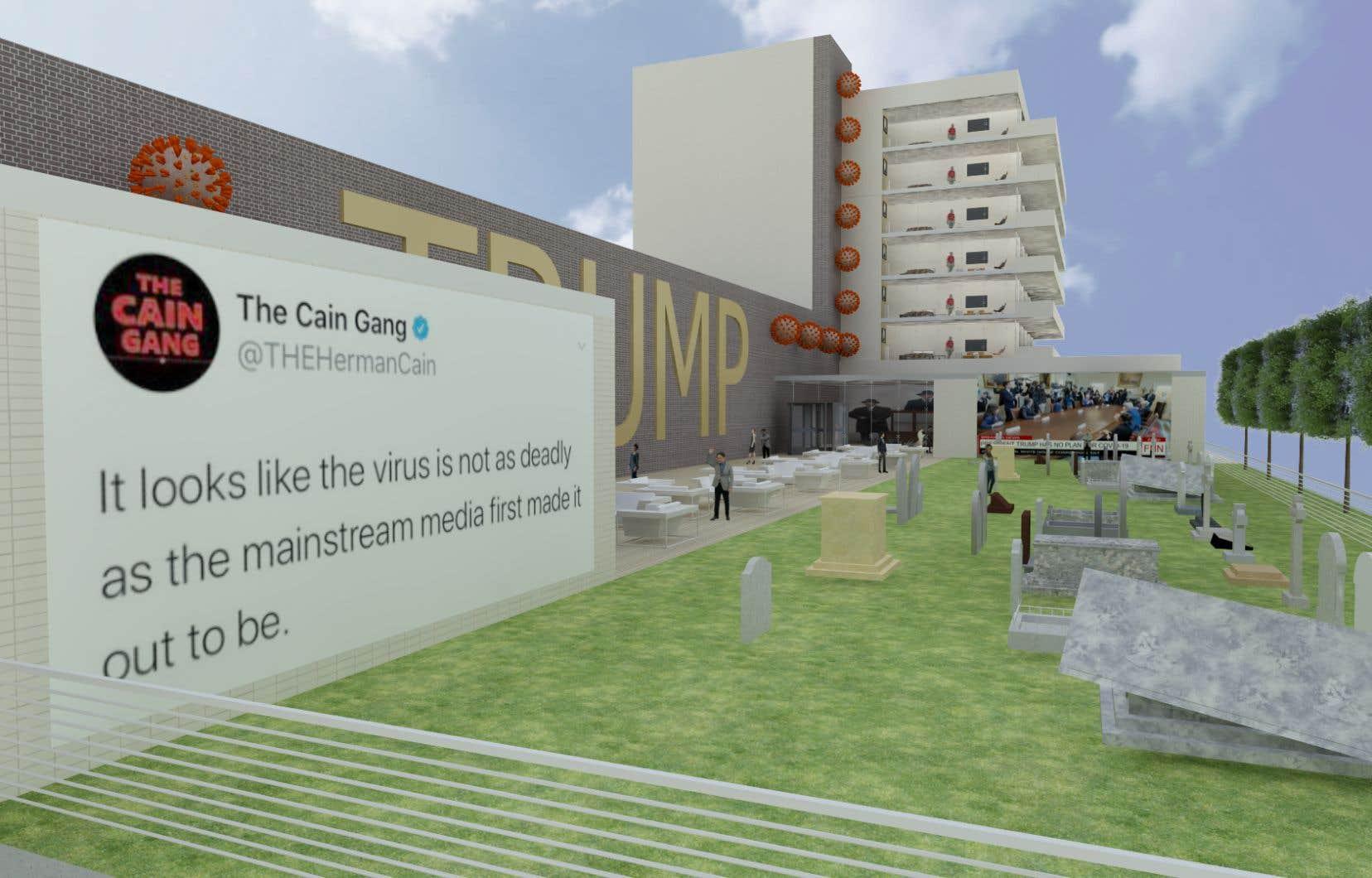 Le nom et l'image du magnat de l'immobilier sont placardés partout sur et dans la bibliothèque virtuelle, comme il a l'habitude de signer en lettres hollywoodiennes ses immeubles ou ses avions.