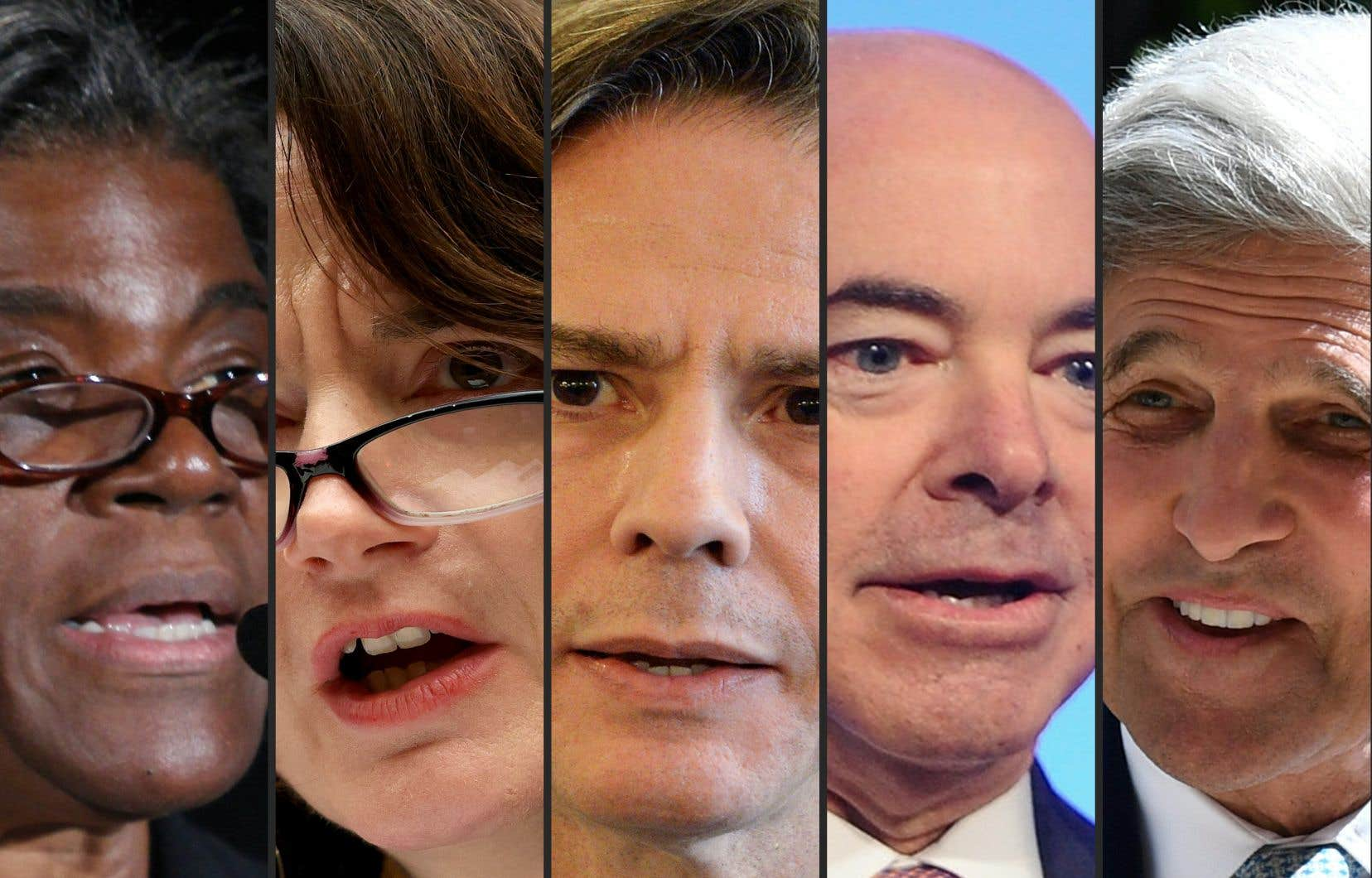 Sur la photo: Linda Thomas-Greenfield, Avril Haines, Antony J. Blinken, Alejandro Mayorkas et John Kerry