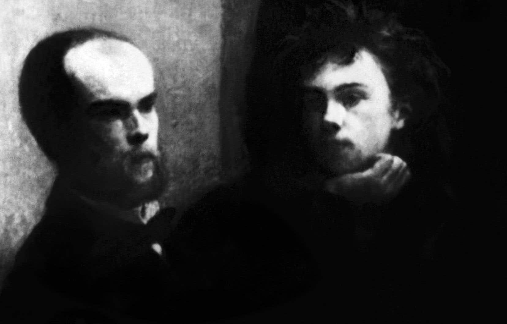 Photo prise le 27 septembre 1954 d'un fragment du tableau de Fantin-Latour «Le coin de table» représentant (de gauche à droite) les poètes Paul Verlaine et Arthur Rimbaud
