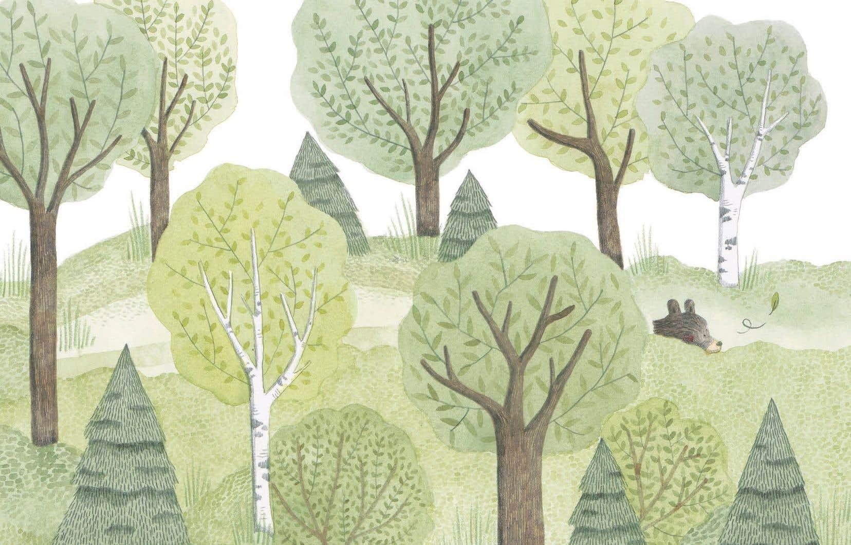 Illustration tirée du livre «Ours et le murmure du vent»