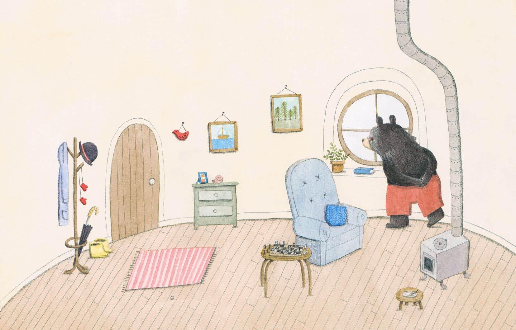 Illustration tirée du livre «Ours et le murmure du vent», de Marianne Dubuc
